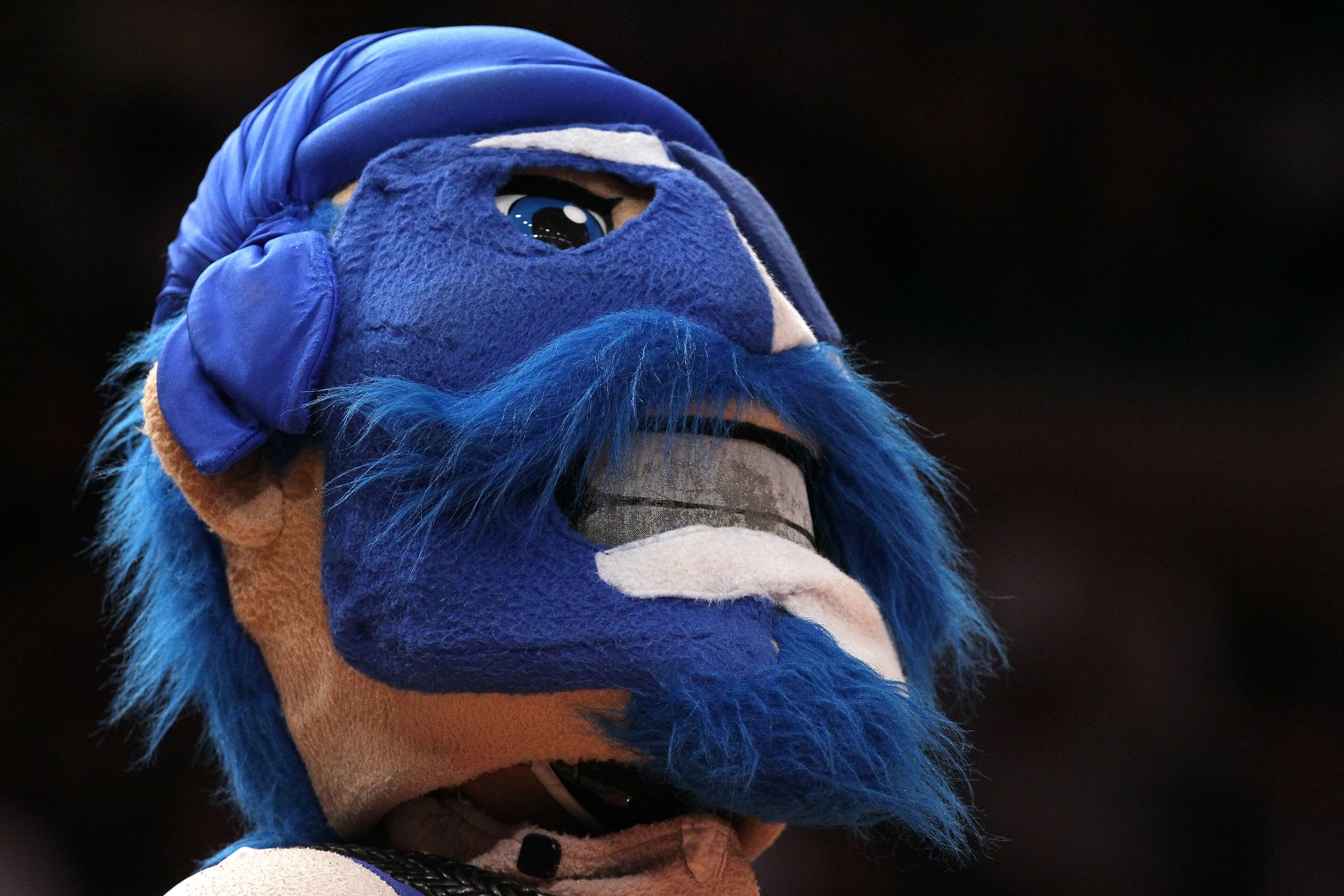 NEW YORK - MARCH 10:  The Seton Hall Pirates mascot walks on the court against the Notre Dame Fighting Irish during the second round of 2010 NCAA Big East Tournament at Madison Square Garden on March 10, 2010 in New York City.  (Photo by Jim McIsaac/Getty