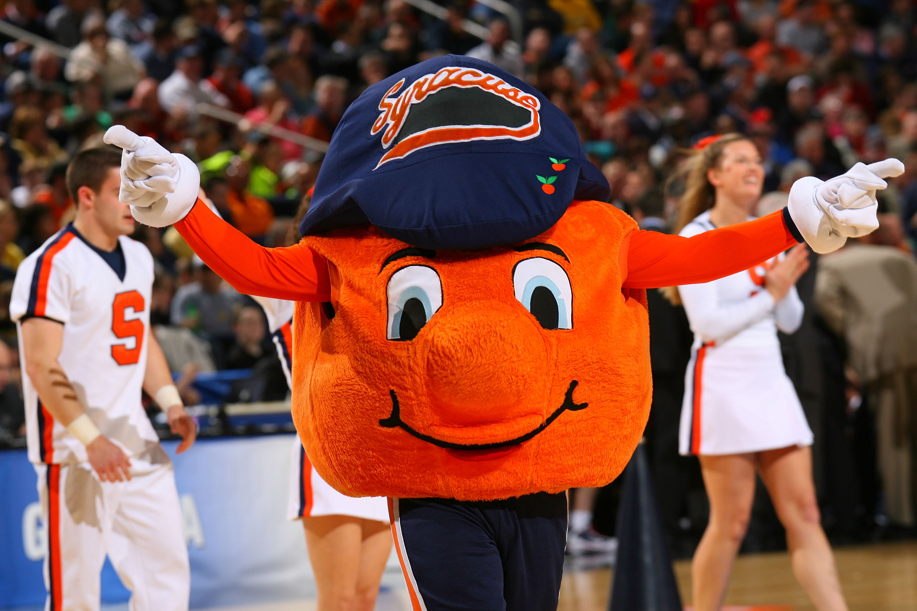 BUFFALO, NY - MARCH 21:  The Syracuse Orange mascot performs during the second round of the 2010 NCAA men's basketball tournament at HSBC Arena at HSBC Arena on March 21, 2010 in Buffalo, New York.  (Photo by Rick Stewart/Getty Images)
