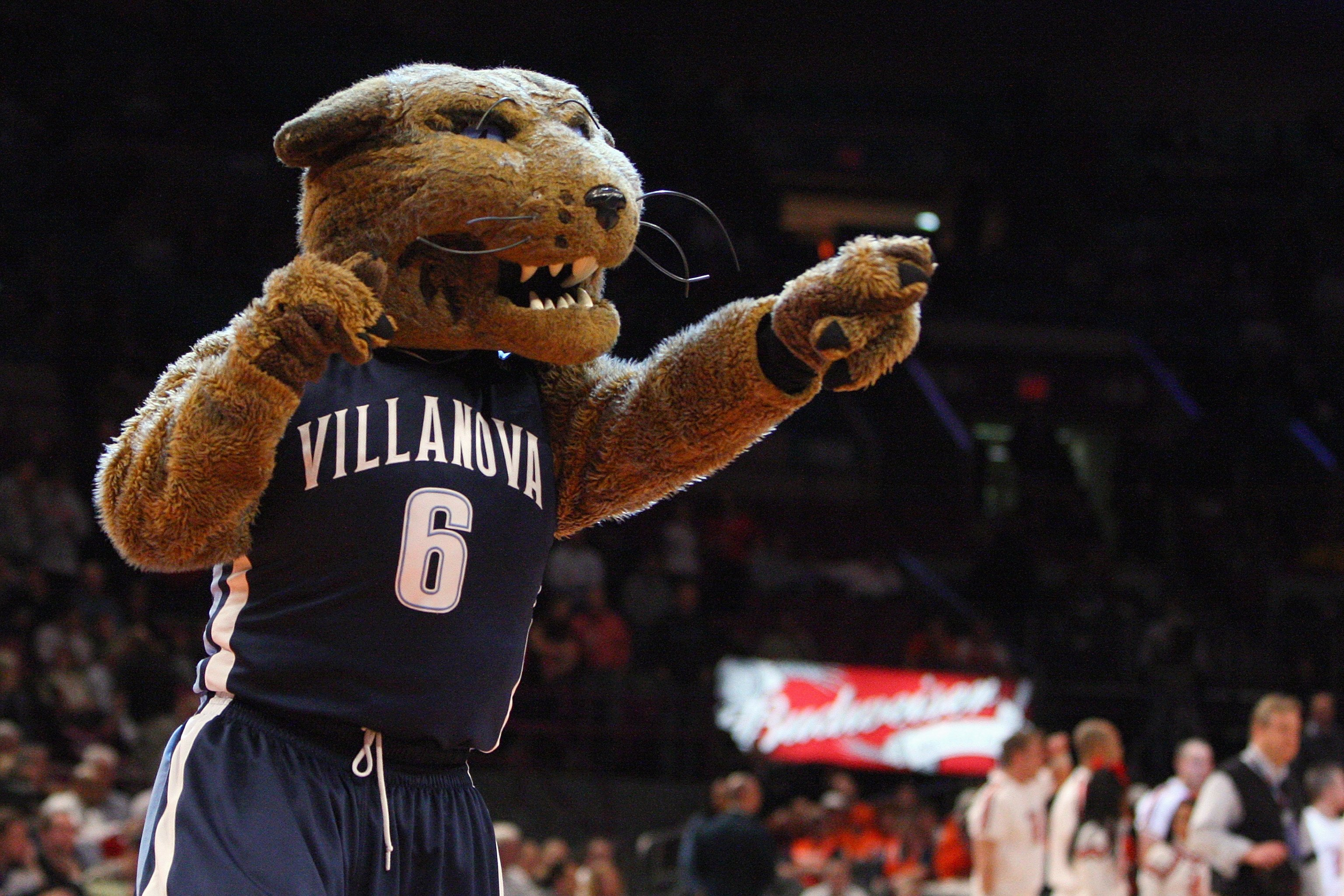 NEW YORK - MARCH 13:  Villanova Wildcats mascot Will D. Cat cheers during the semifinal round of the Big East Tournament against the Louisville Cardinals at Madison Square Garden on March 13, 2009 in New York City. (Photo by Jim McIsaac/Getty Images)