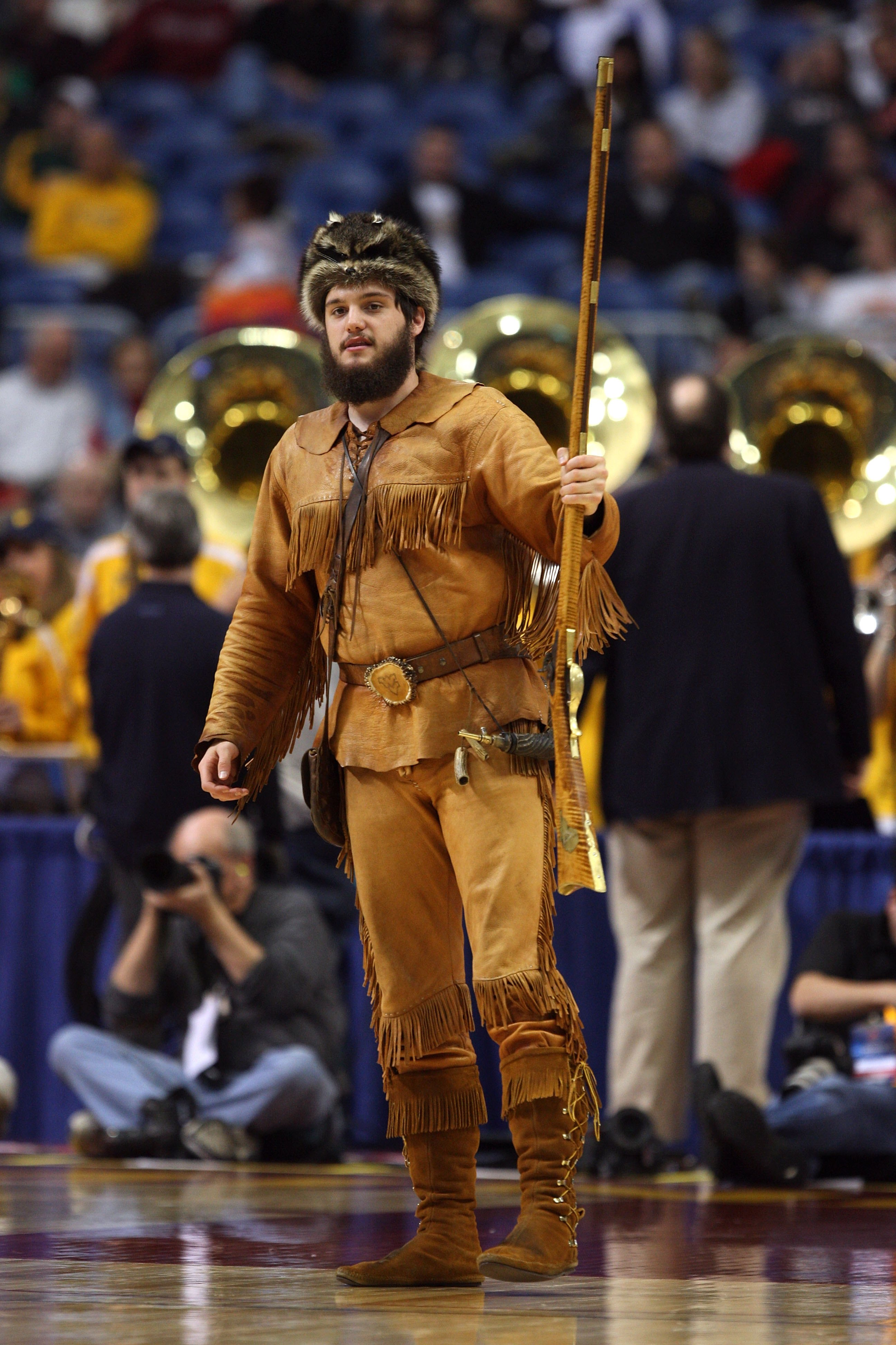 MINNEAPOLIS - MARCH 20:  The mascot for the West Virginia Moutaineers stands on the court against the Dayton Flyers during the first round of the NCAA Division I Men's Basketball Tournament at the Hubert H. Humphrey Metrodome on March 20, 2009 in Minneapo