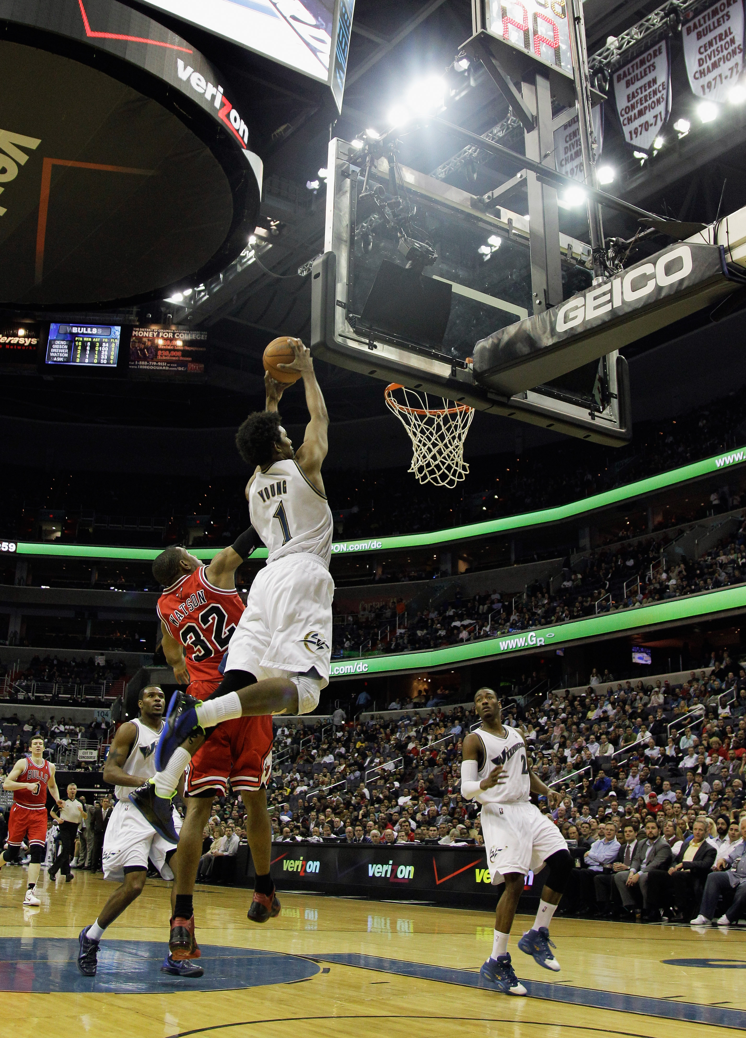 WASHINGTON, DC - FEBRUARY 28: Nick Young #1 of the Washington Wizards and C.J. Watson #32 of the Chicago Bulls at the Verizon Center in Washington on February 28, 2011 in Washington, DC. NOTE TO USER: User expressly acknowledges and agrees that, by downlo