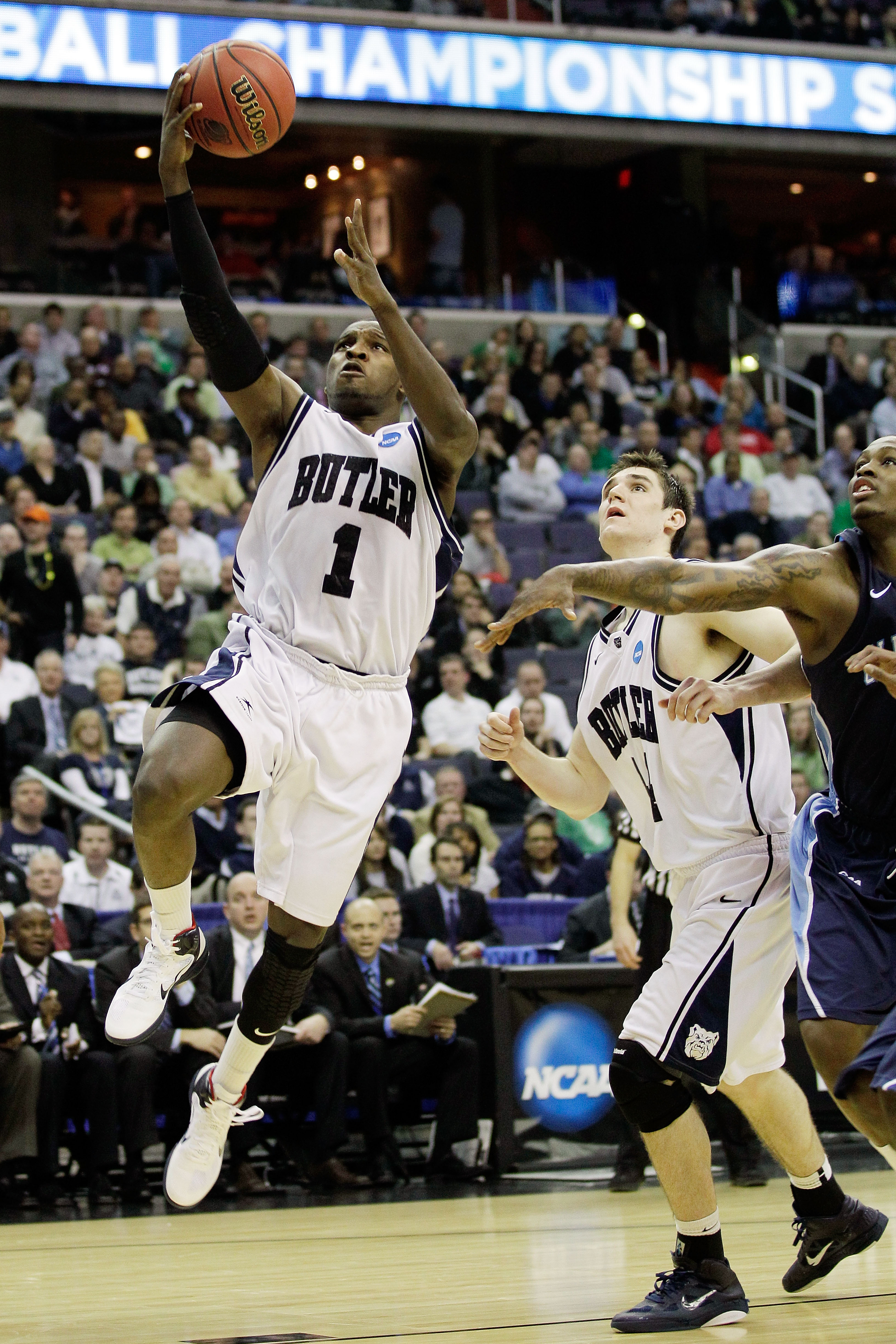 WASHINGTON - MARCH 17:  Shelvin Mack #1 of the Butler Bulldogs puts in a layup against the Old Dominion Monarchs during the second round of the 2011 NCAA men's basketball tournament at the Verizon Center on March 17, 2011 in Washington, DC.  (Photo by Rob