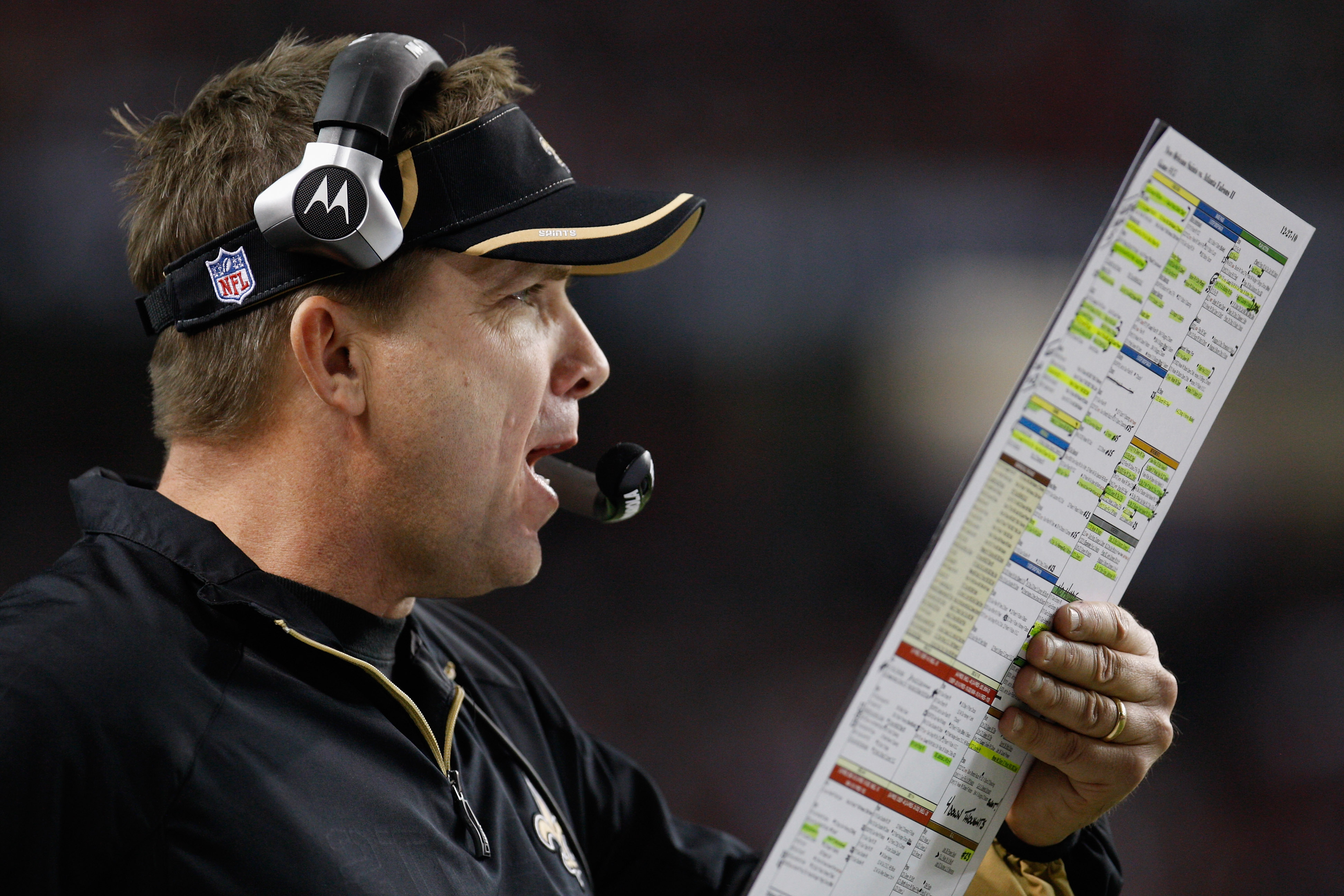 ATLANTA, GA - DECEMBER 27:  Head coach Sean Payton of the New Orleans Saints calls a play during the second half during the game against the Atlanta Falcons at the Georgia Dome on December 27, 2010 in Atlanta, Georgia.  (Photo by Scott Halleran/Getty Imag