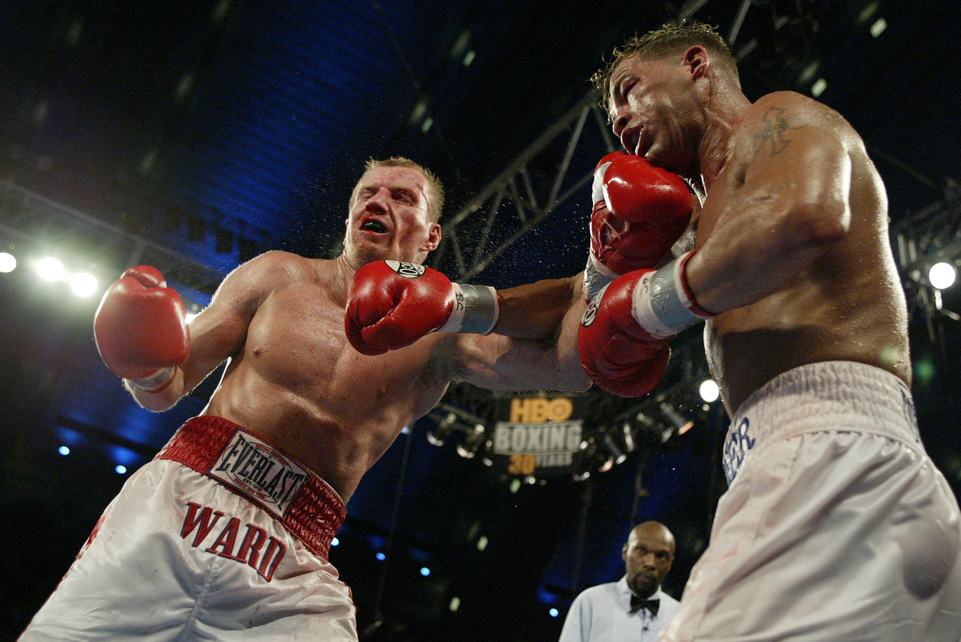 ATLANTIC CITY, NJ - JUNE 7:  Arturo Gatti (L) and Micky Ward trade punches during their Junior Welterweight bout at Boardwalk Hall on June 7, 2003 in Atlantic City, New Jersey. Gatti won a unanimous decision. (Photo by Al Bello/Getty  Images)