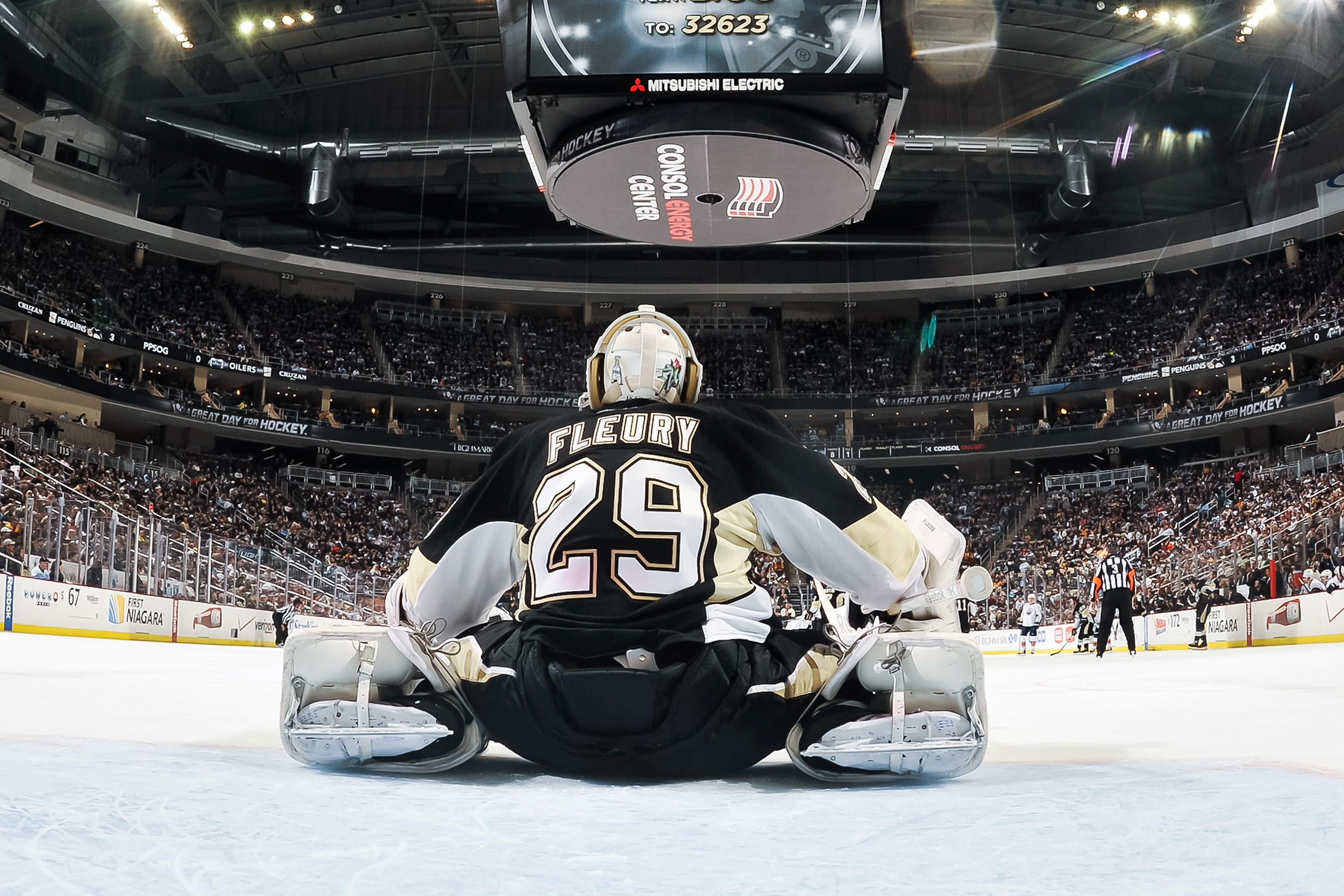PITTSBURGH, PA - MARCH 13:  Goaltender Marc-Andre Fleury #29 of the Pittsburgh Penguins takes a breather against the Edmonton Oilers on March 13, 2011 at CONSOL Energy Center in Pittsburgh, Pennsylvania.  (Photo by Jamie Sabau/Getty Images)