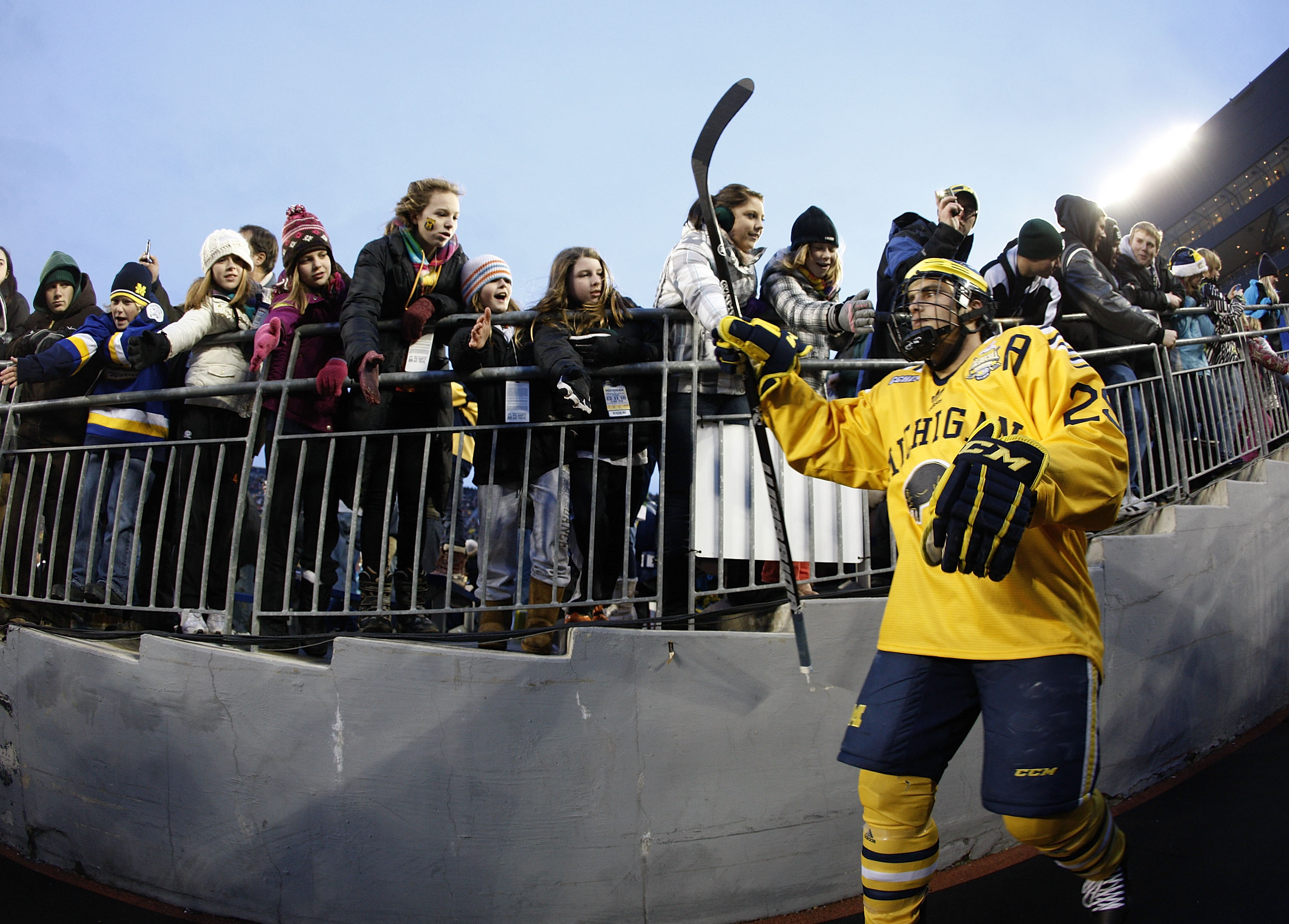 ANN ARBOR, MI - DECEMBER 11:  Louie Caporusso #29 of the Michigan Wolverines enters the stadium for the third period while playing the Michigan State Spartans at Michigan Stadium on December 11, 2010 in Ann Arbor, Michigan.  (Photo by Gregory Shamus/Getty