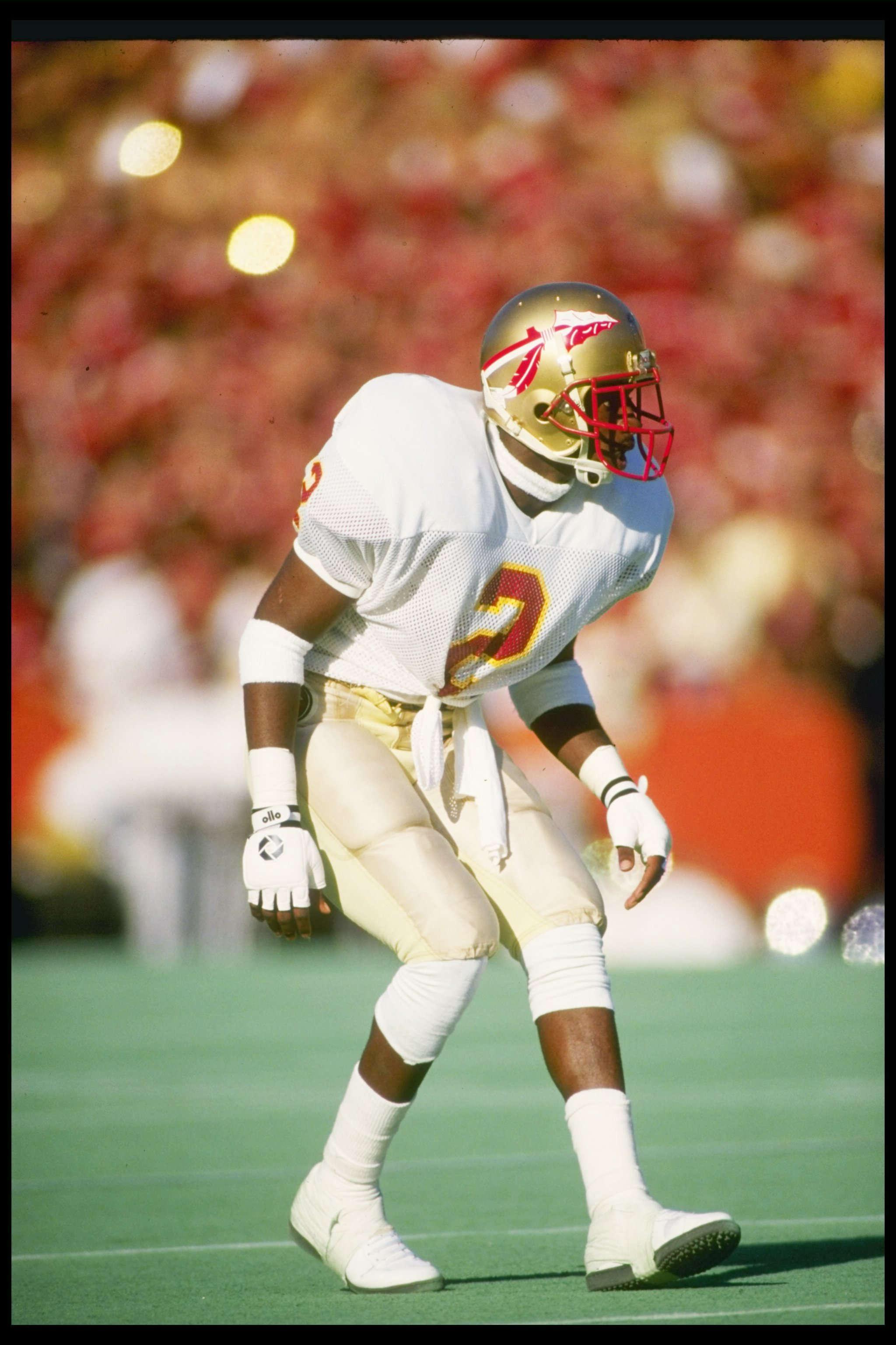 28 Nov 1987  Cornerback Deion Sanders of the Florida State Seminoles stands  in position during 953ca0658