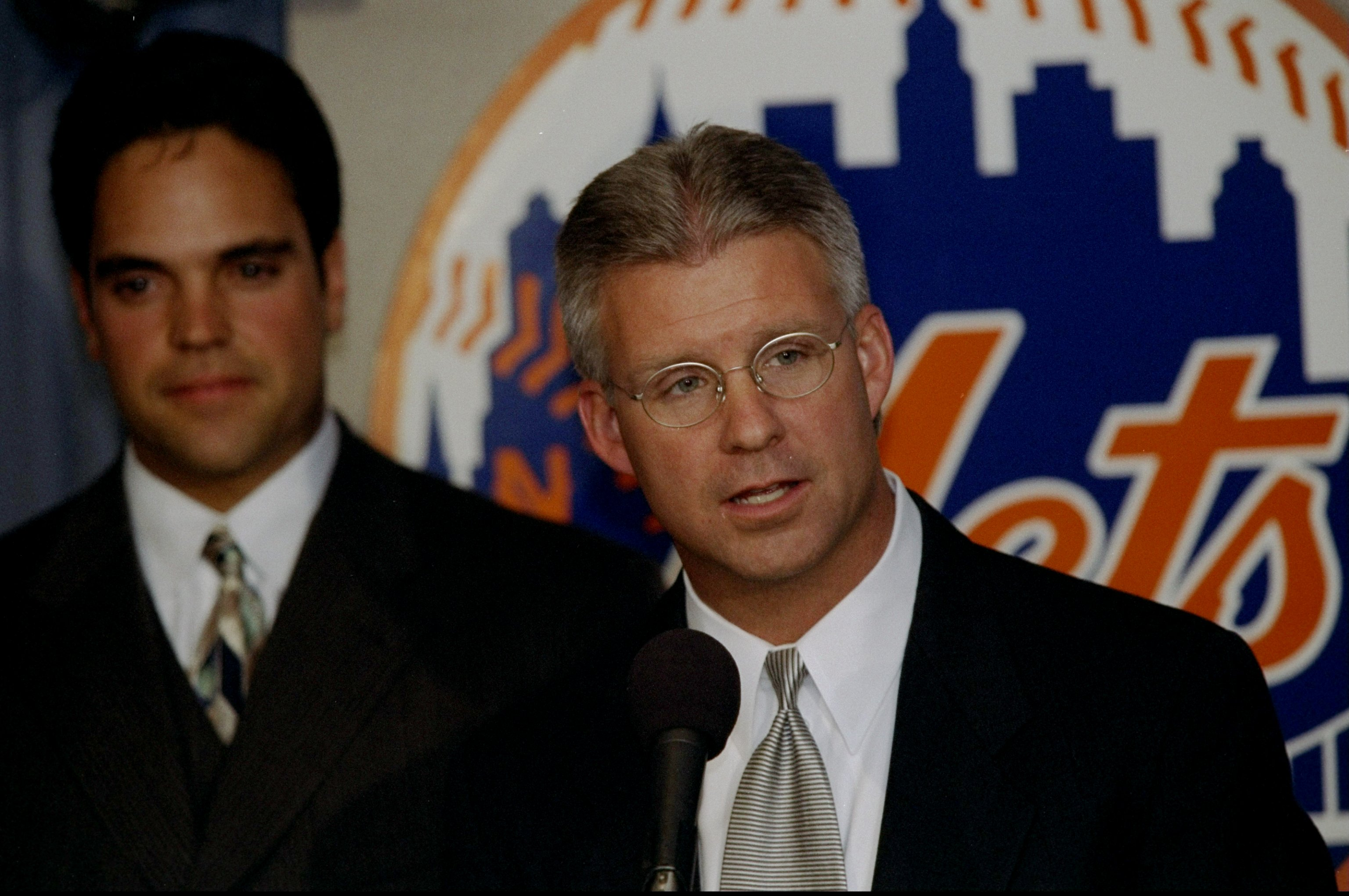 26 Oct 1998: General Manager Steve Phillips of  the New York Mets talks during a press conference about Mike Piazza in New York City, New York. Mandatory Credit: Jamie Squire  /Allsport
