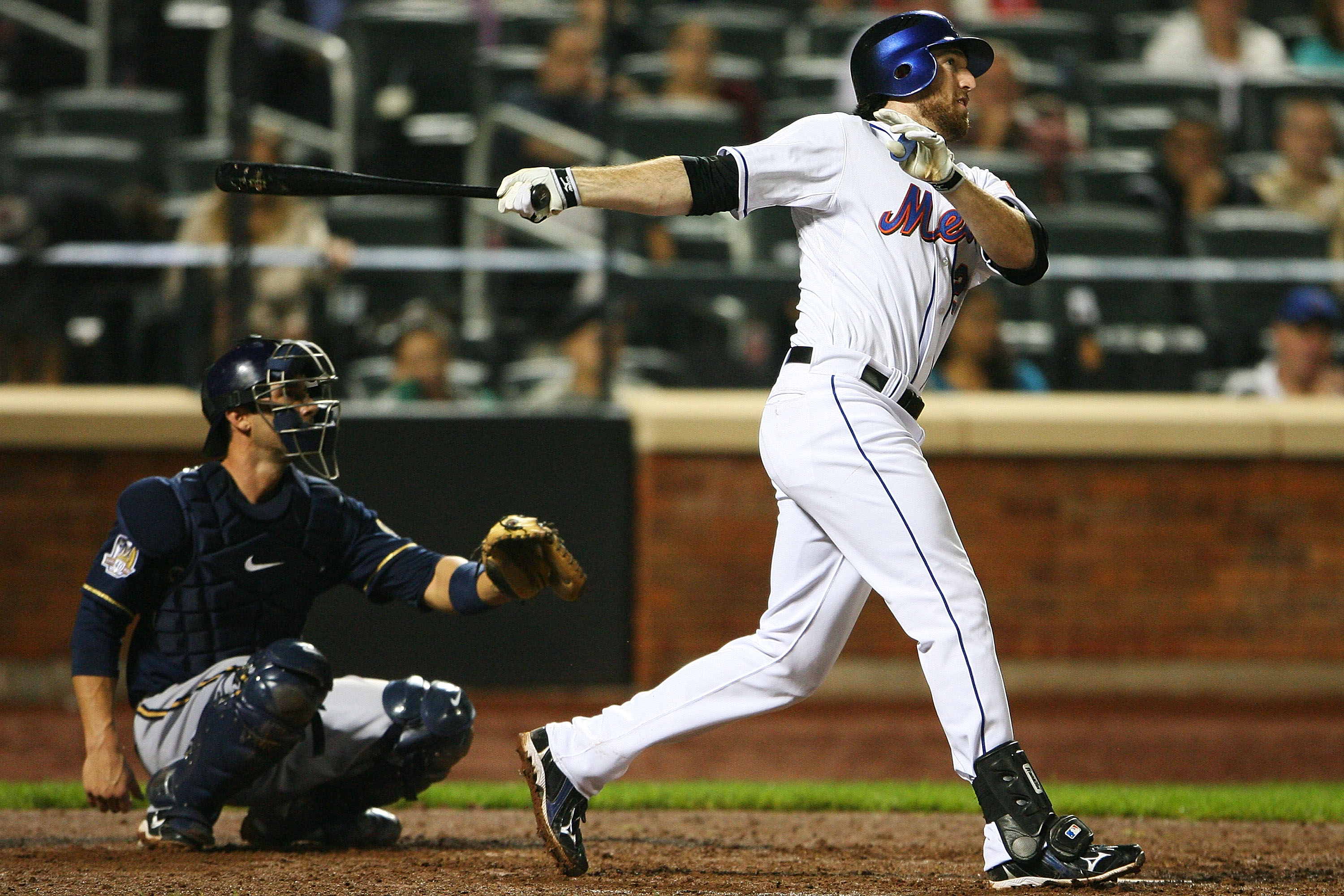 NEW YORK - SEPTEMBER 28:  Ike Davis #29 of the New York Mets watches after hitting a double in the ninth inning against the Milwaukee Brewers on September 28, 2010 at Citi Field in the Flushing neighborhood of the Queens borough of New York City. The Mets