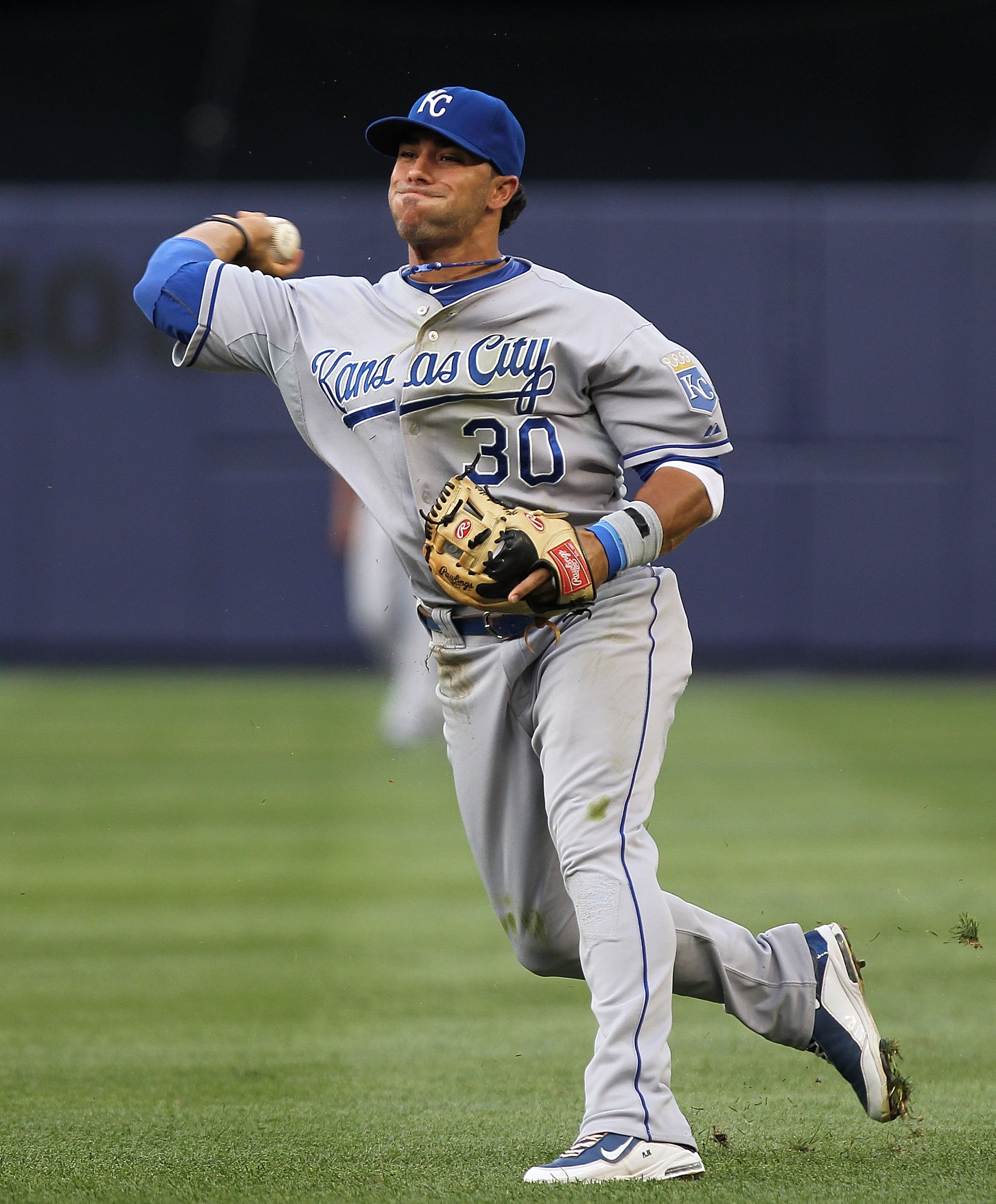 NEW YORK - JULY 22:  Mike Aviles #30 of the Kansas City Royals in the field against the New York Yankees at Yankee Stadium on July 22, 2010 in the Bronx borough of New York City.  (Photo by Nick Laham/Getty Images)