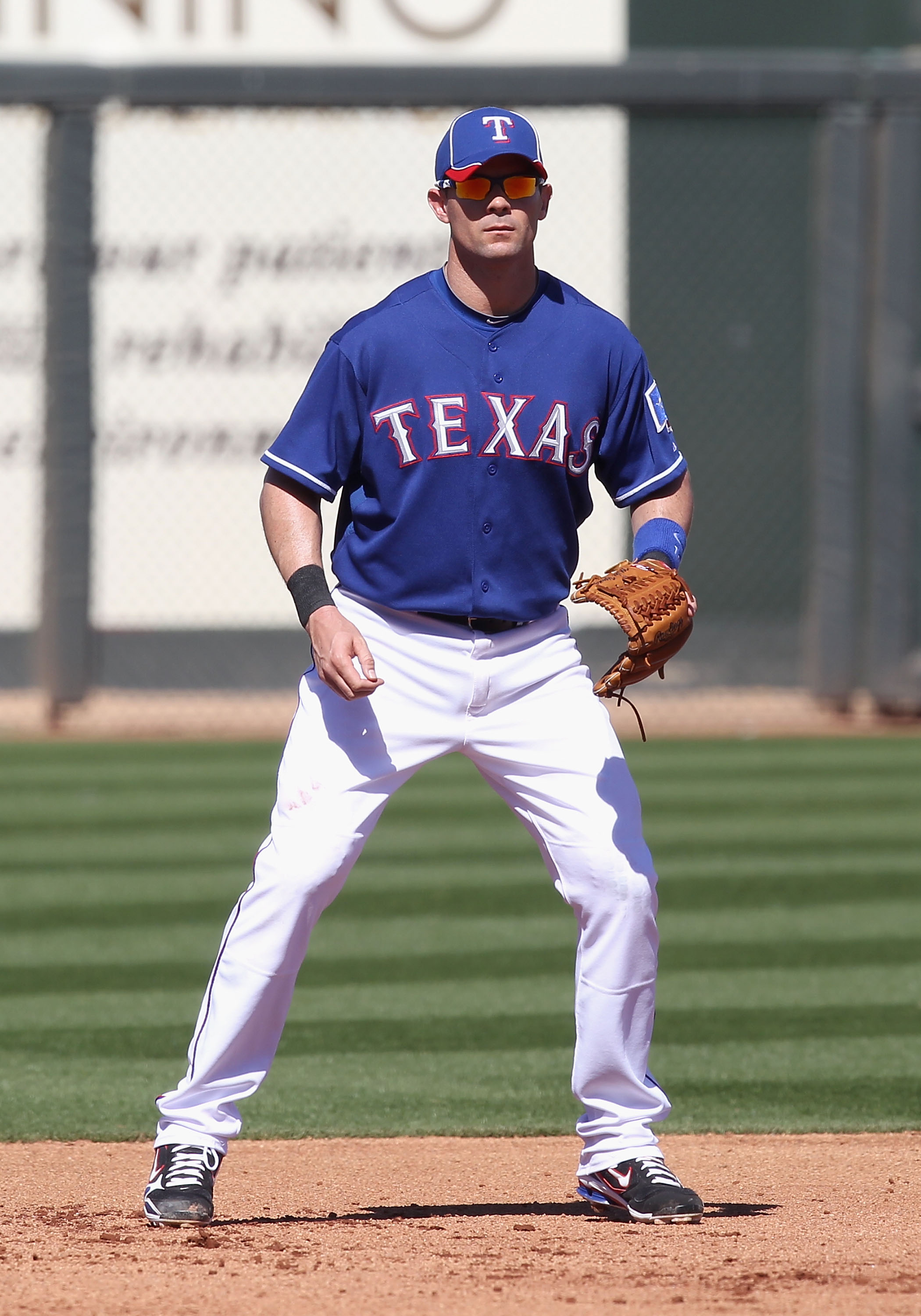SURPRISE, AZ - MARCH 02:  Infielder Michael Young #10 of the Texas Rangers during the spring training game against the Los Angeles Angels of Anaheim at Surprise Stadium on March 2, 2011 in Surprise, Arizona.  (Photo by Christian Petersen/Getty Images)