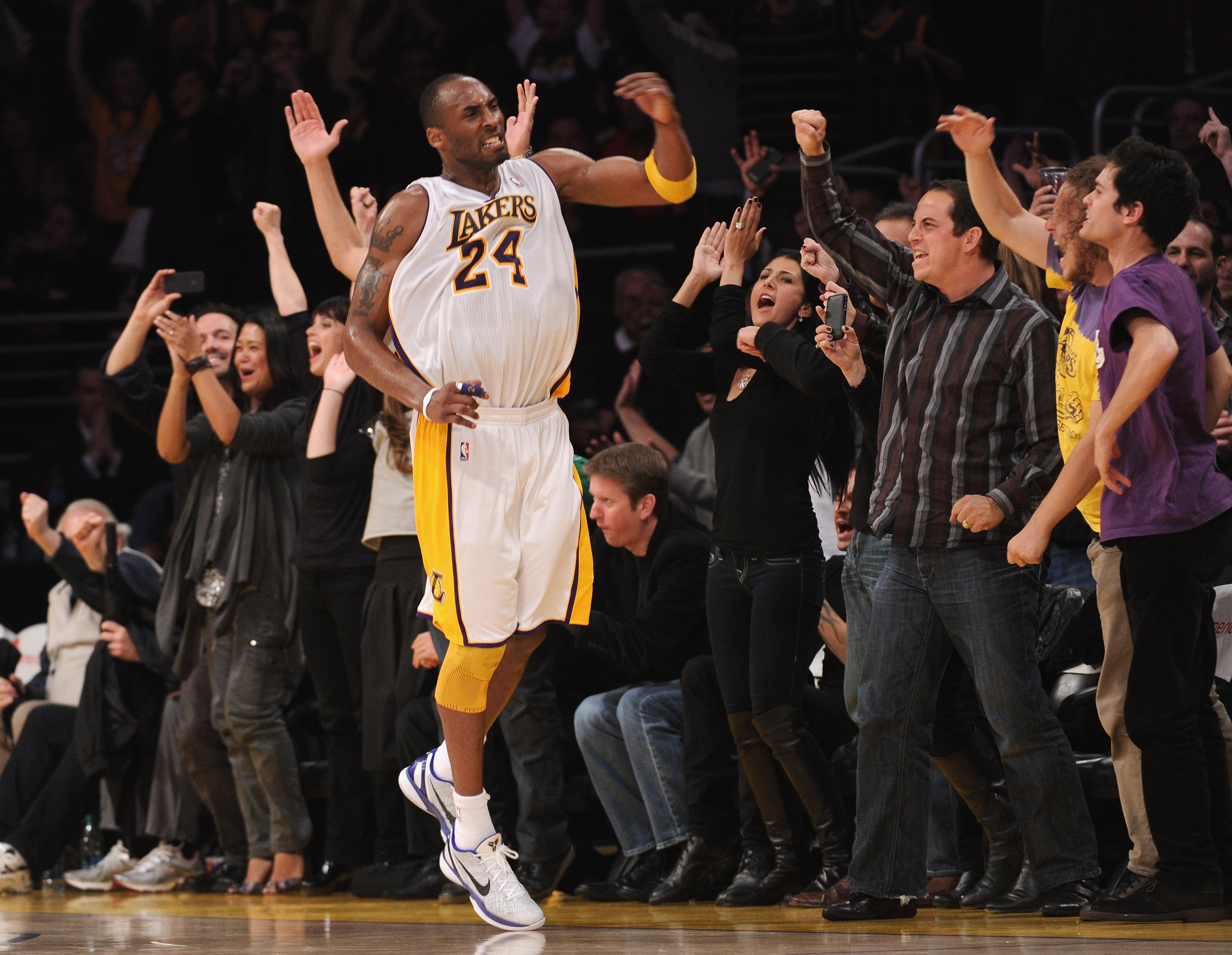 LOS ANGELES, CA - MARCH 20:  Kobe Bryant #24 of the Los Angeles Lakers celebrates his basket in the last minute on way to an 84-80 win over the  Portland Trail Blazers at the Staples Center on March 20, 2011 in Los Angeles, California.  NOTE TO USER: User