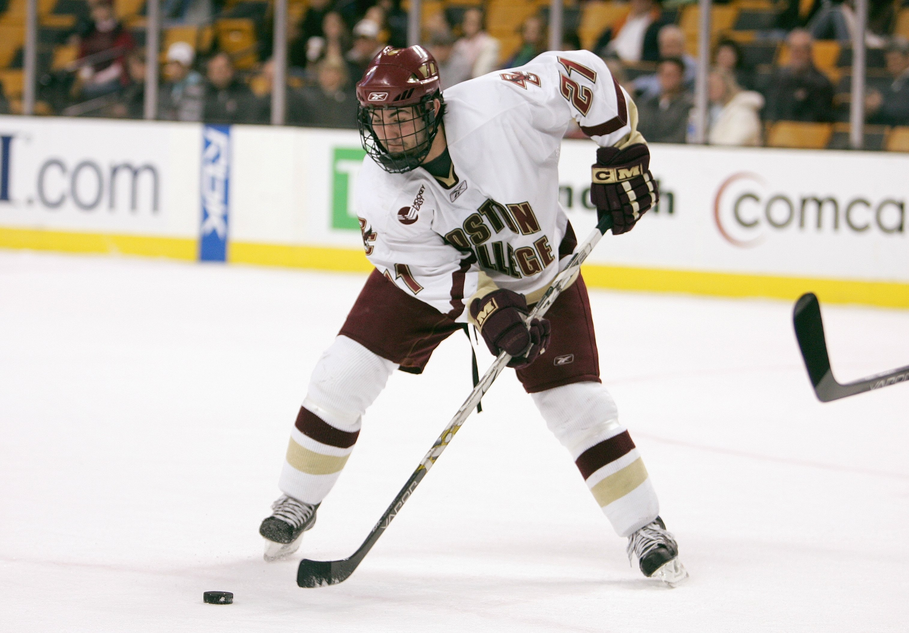 BOSTON - MARCH 16: Benn Ferriero #21 of the Boston College Eagles handles the puck against the Boston University Terriers during the Hockey East Tournament on March 16,2007 at TD Banknorth Garden in Boston, Massachusetts. (Photo by Elsa/Getty Images)
