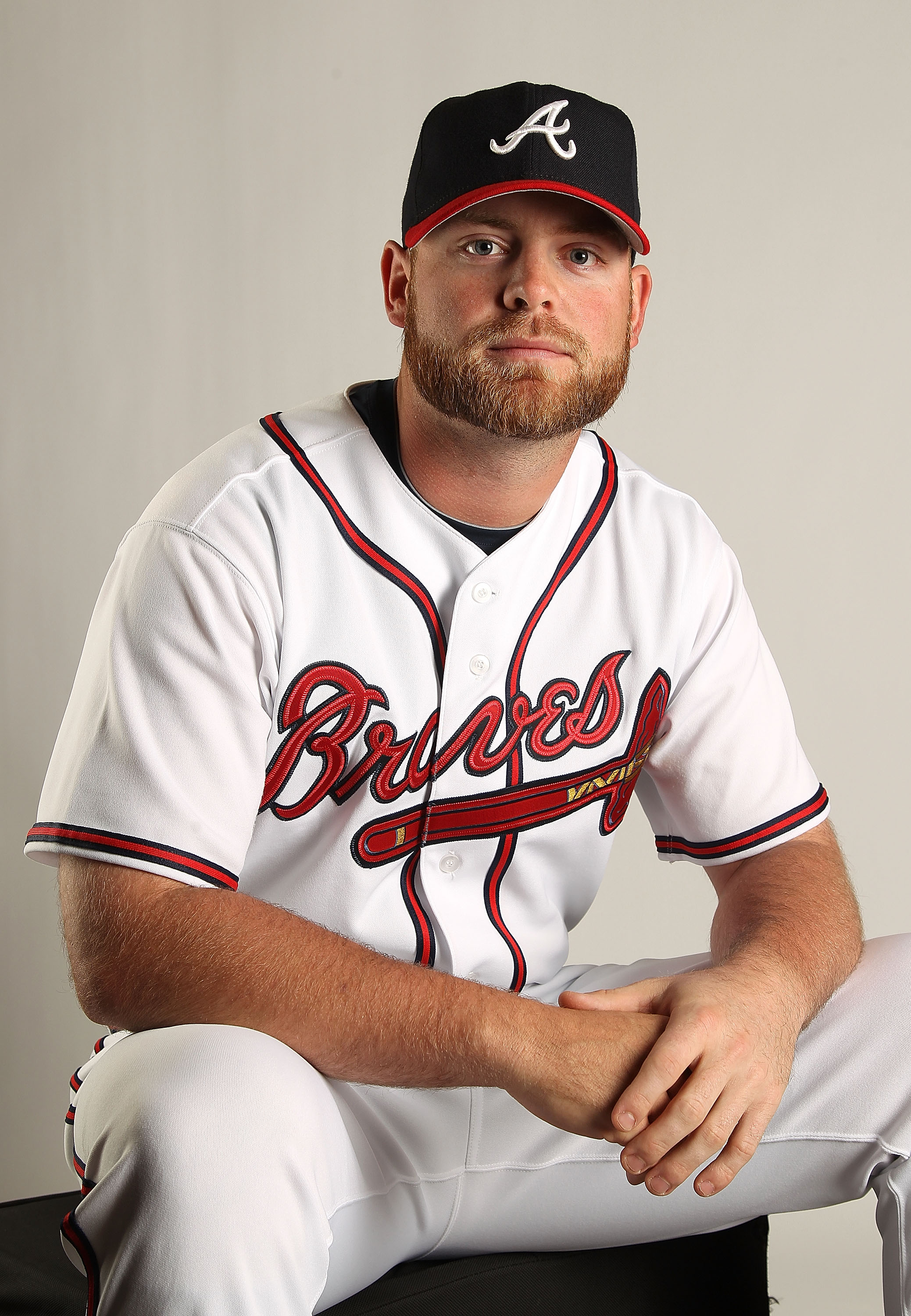 LAKE BUENA VISTA, FL - FEBRUARY 21: Brian McCann #16 of the Atlanta Braves during Photo Day at  Champion Stadium at ESPN Wide World of Sports of Complex on February 21, 2011 in Lake Buena Vista, Florida.  (Photo by Mike Ehrmann/Getty Images)