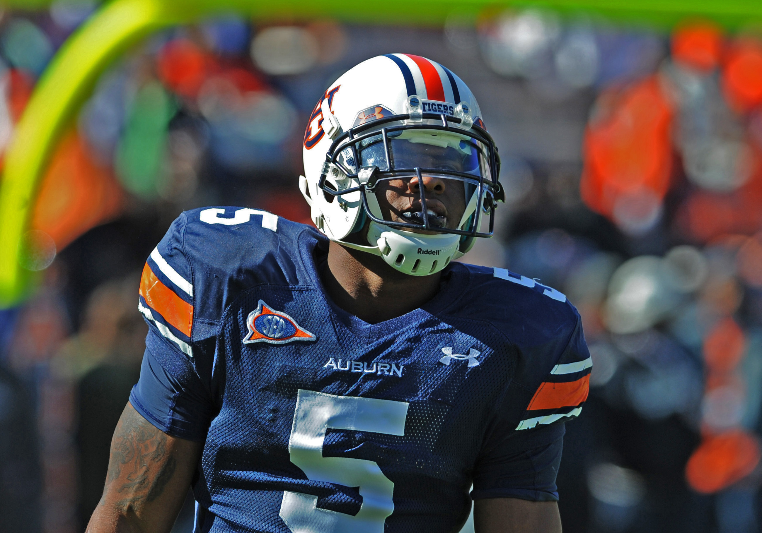 AUBURN, AL - NOVEMBER 06:  Running back Michael Dyer #5 of the Auburn Tigers warms up before play against the Chattanooga Mocs November 6, 2010 at Jordan-Hare Stadium in Auburn, Alabama.  (Photo by Al Messerschmidt/Getty Images)