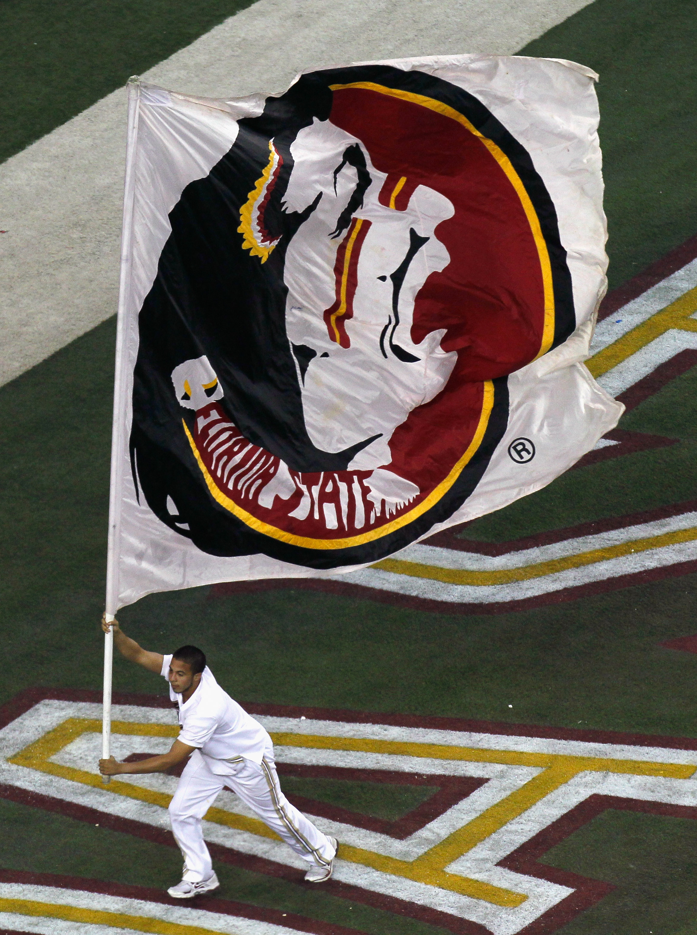 ATLANTA, GA - DECEMBER 31:  A cheerleader for the Florida State Seminoles against the South Carolina Gamecocks during the 2010 Chick-fil-A Bowl at Georgia Dome on December 31, 2010 in Atlanta, Georgia.  (Photo by Kevin C. Cox/Getty Images)