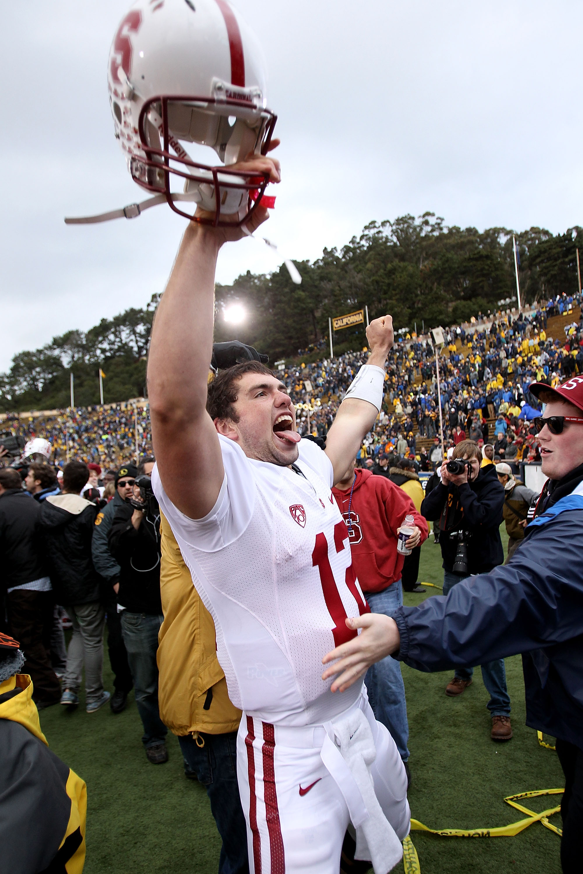 BERKELEY, CA - NOVEMBER 20:  Andrew Luck #12 of the Stanford Cardinal celebrates after beating the California Golden Bears at California Memorial Stadium on November 20, 2010 in Berkeley, California.  (Photo by Ezra Shaw/Getty Images)