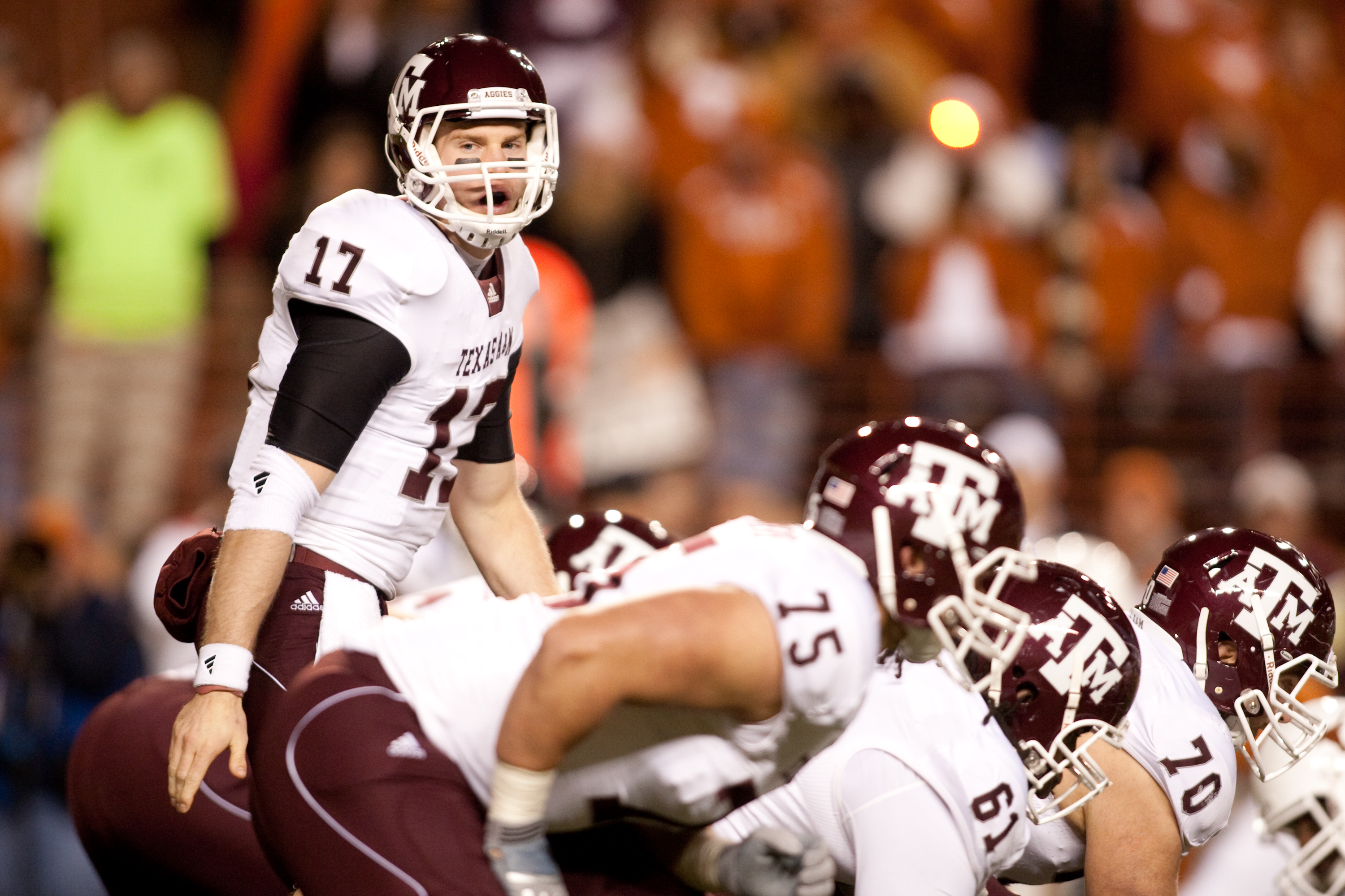 AUSTIN, TX - NOVEMBER 25:  Quarterback Ryan Tannehill #17 of Texas A&M during the game against University of Texas in the first half at Darrell K. Royal-Texas Memorial Stadium on November 25, 2010 in Austin, Texas. (Photo by Darren Carroll/Getty Images)