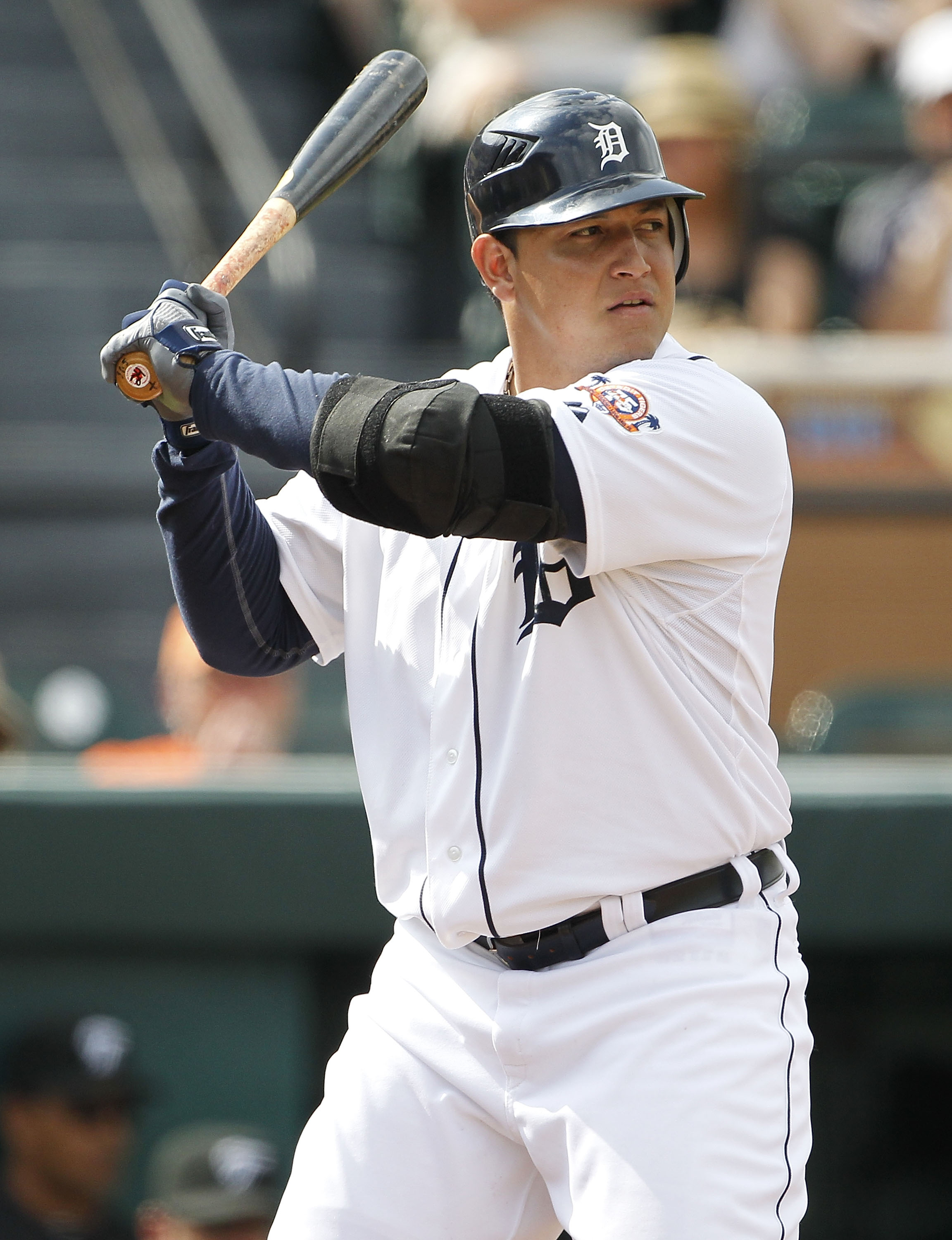 LAKELAND, FL - MARCH 01:  Miguel Cabrera #24 of the Detroit Tigers bats during the game against the Toronto Blue Jays at Joker Marchant Stadium on March 1, 2011 in Lakeland, Florida. The Tigers defeated the Blue Jays 6-2.  (Photo by Leon Halip/Getty Image