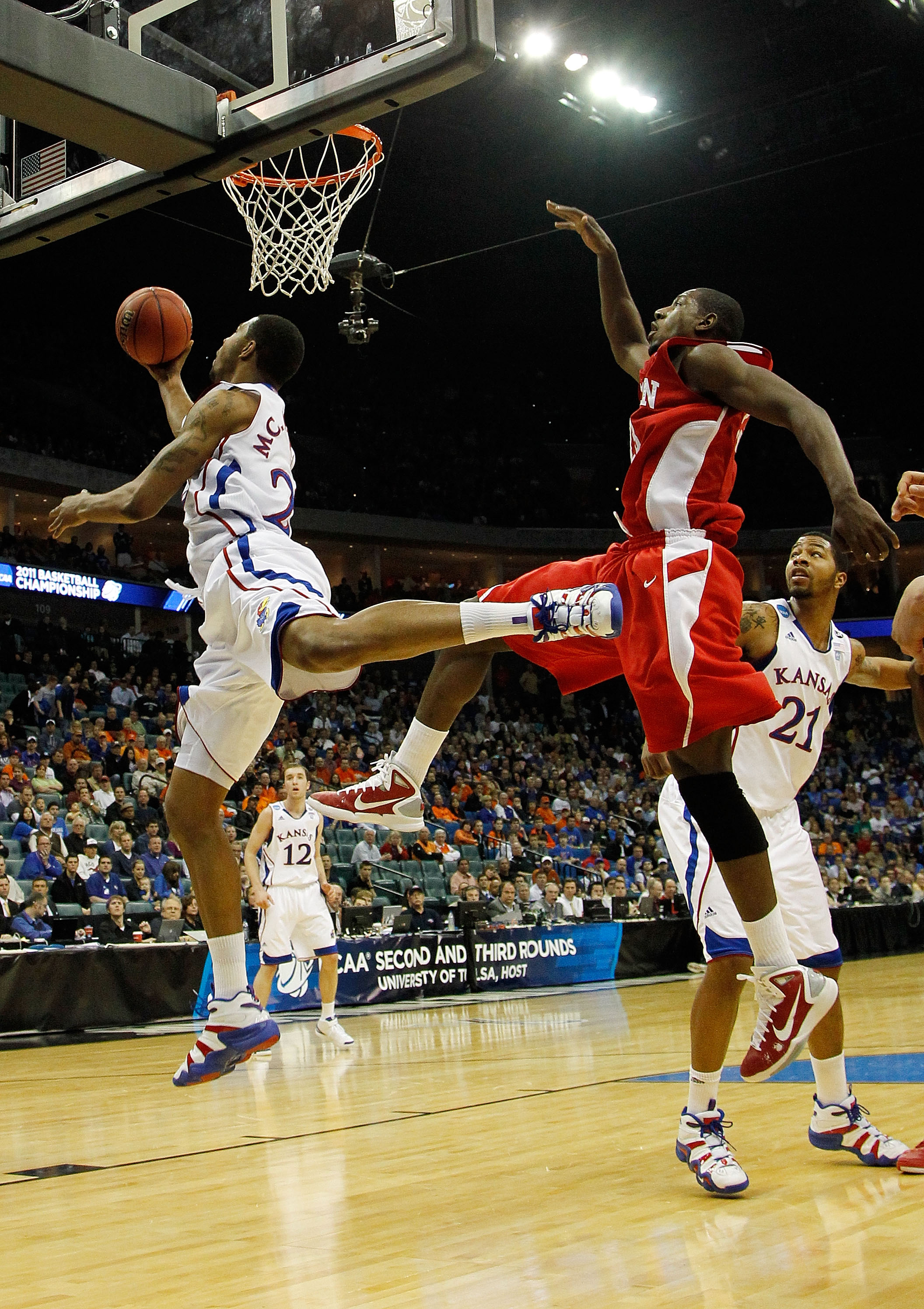 TULSA, OK - MARCH 18:  Marcus Morris #22 of the Kansas Jayhawks throws up a shot against the Boston University Terriers during the second round of the 2011 NCAA men's basketball tournament at BOK Center on March 18, 2011 in Tulsa, Oklahoma.  (Photo by Tom
