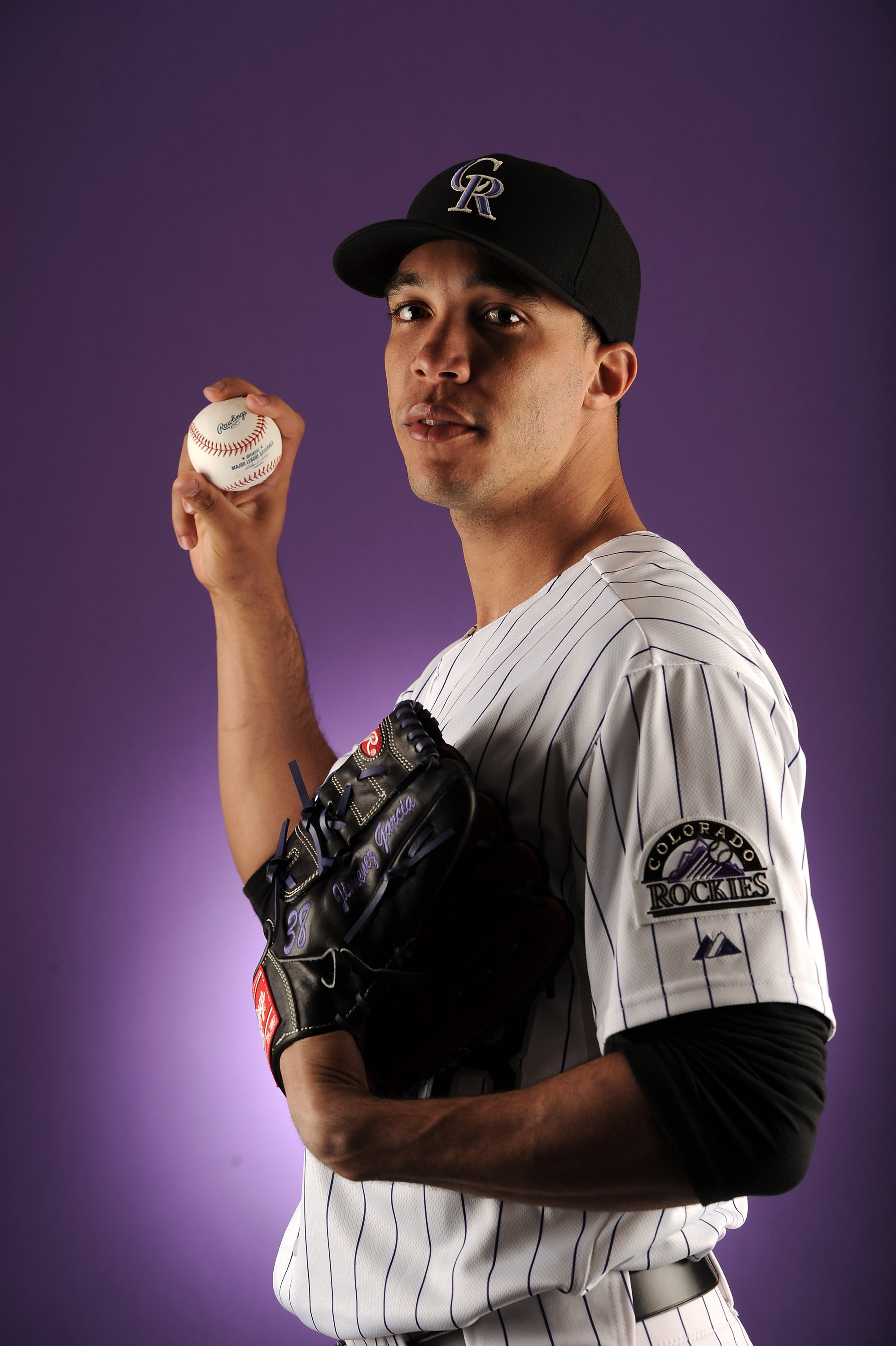 SCOTTSDALE, AZ - FEBRUARY 24:  Ubaldo Jimenez #38 of the Colorado Rockies poses for a portrait during photo day at the Salt River Fields at Talking Stick on February 24, 2011 in Scottsdale, Arizona.  (Photo by Harry How/Getty Images)