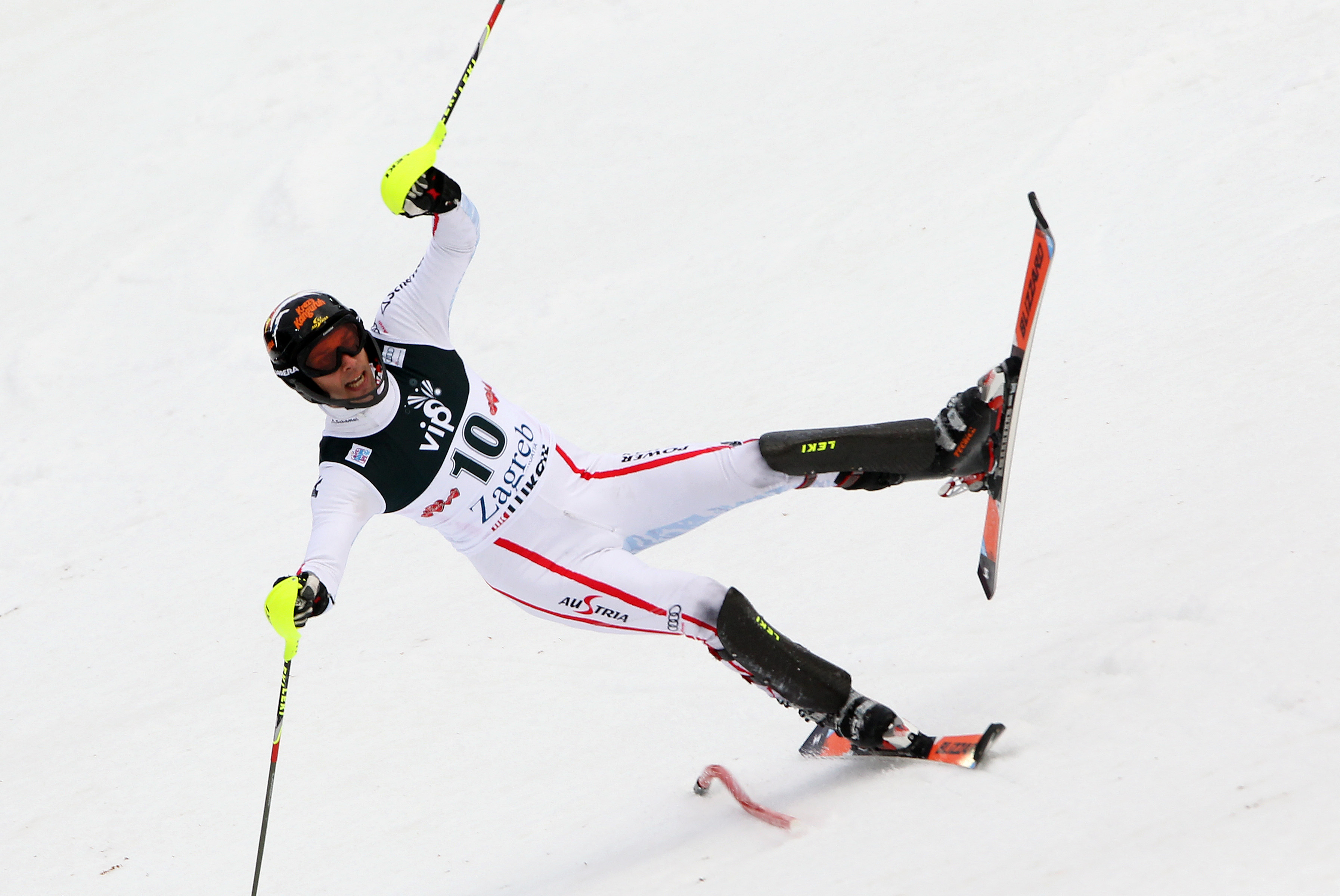ZAGREB, CROATIA - JANUARY 6: (FRANCE OUT) Mario Matt of Austria competes during the Audi FIS Alpine Ski World Cup Men's Slalom on January 6, 2013 in Zagreb, Croatia. (Photo by Alexis Boichard/Agence Zoom/Getty Images)