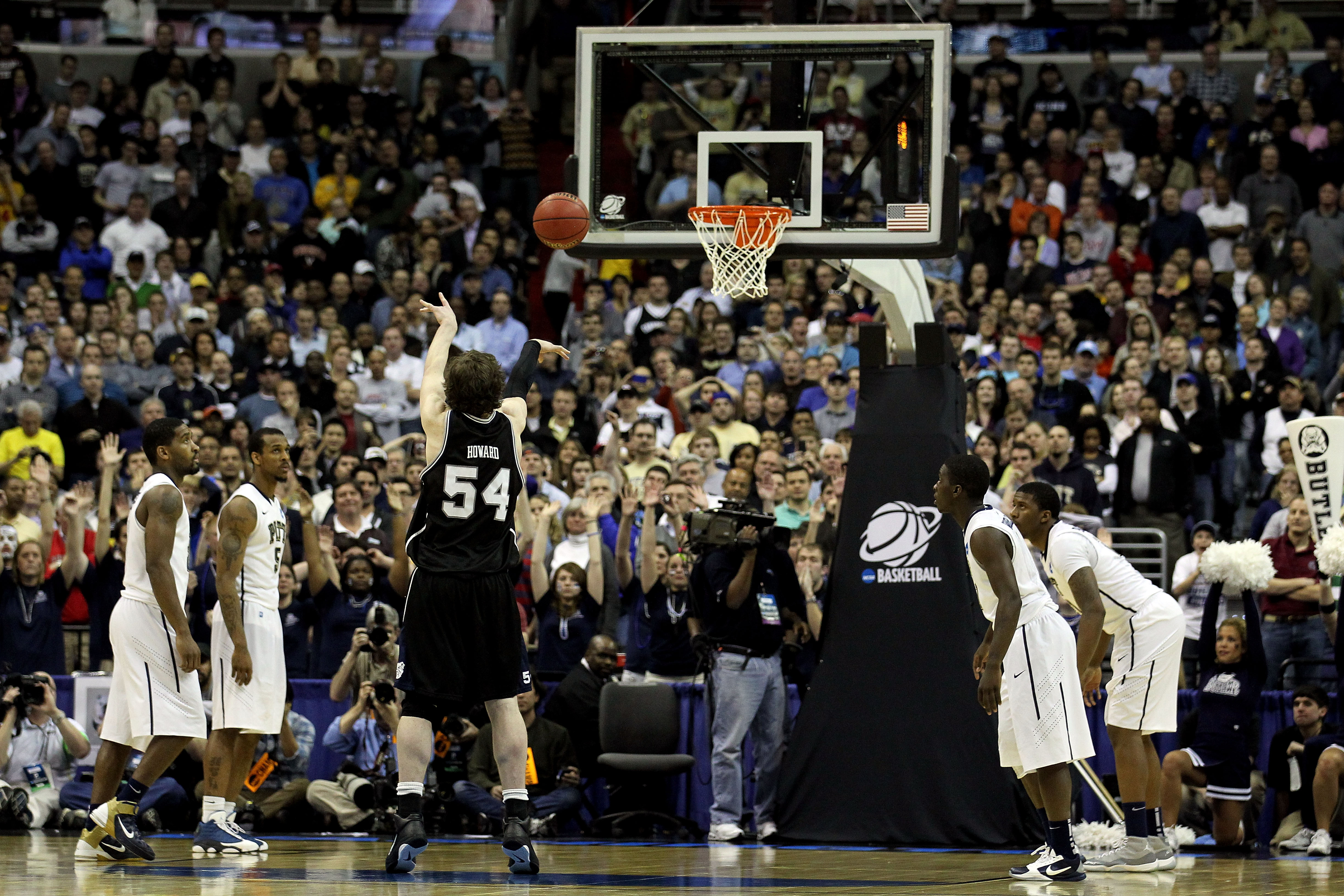 WASHINGTON - MARCH 19:  Matt Howard #54 of the Butler Bulldogs takes the final foul shot against the Pittsburgh Panthers during the third round of the 2011 NCAA men's basketball tournament at Verizon Center on March 19, 2011 in Washington, DC.  (Photo by