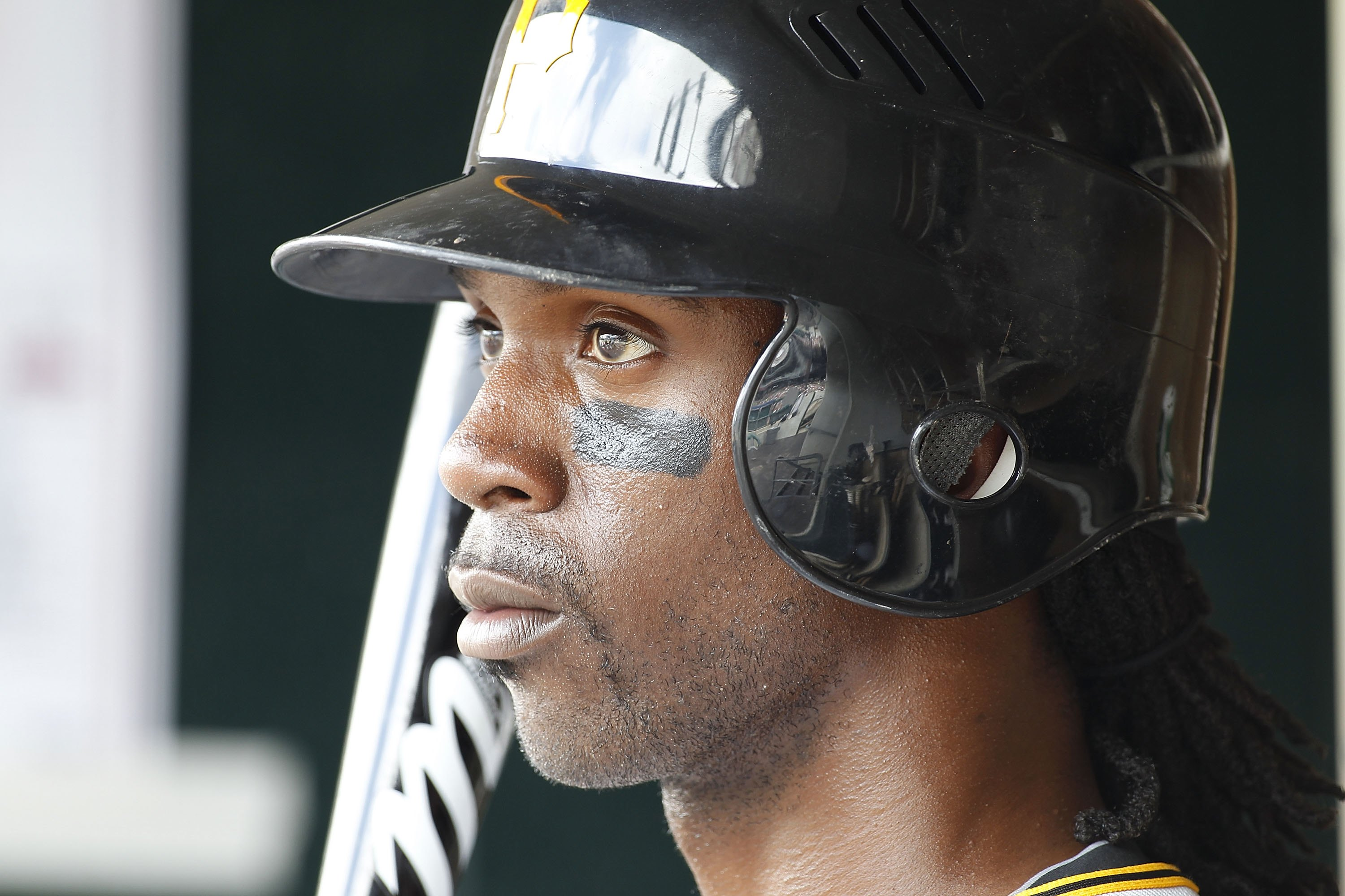 DETROIT - JUNE 13:  Andrew McCutchen #22 of the Pittsburgh Pirates looks on during the sixth inning against the Detroit Tigers during the game on June 12, 2010 at Comerica Park in Detroit, Michigan. The Tigers defeated the Pirates 4-3.  (Photo by Leon Hal