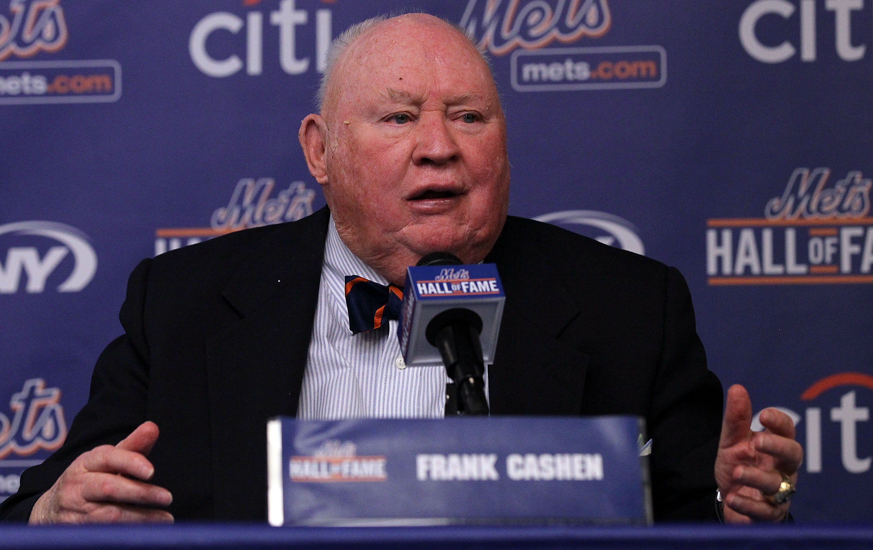 NEW YORK - JULY 31: Former general manager Frank Cashen speaks during a press conference for his induction into the New York Mets Hall of Fame prior to the game against the Arizona Diamondbacks on July 31, 2010 at Citi Field in the Flushing neighborhood o