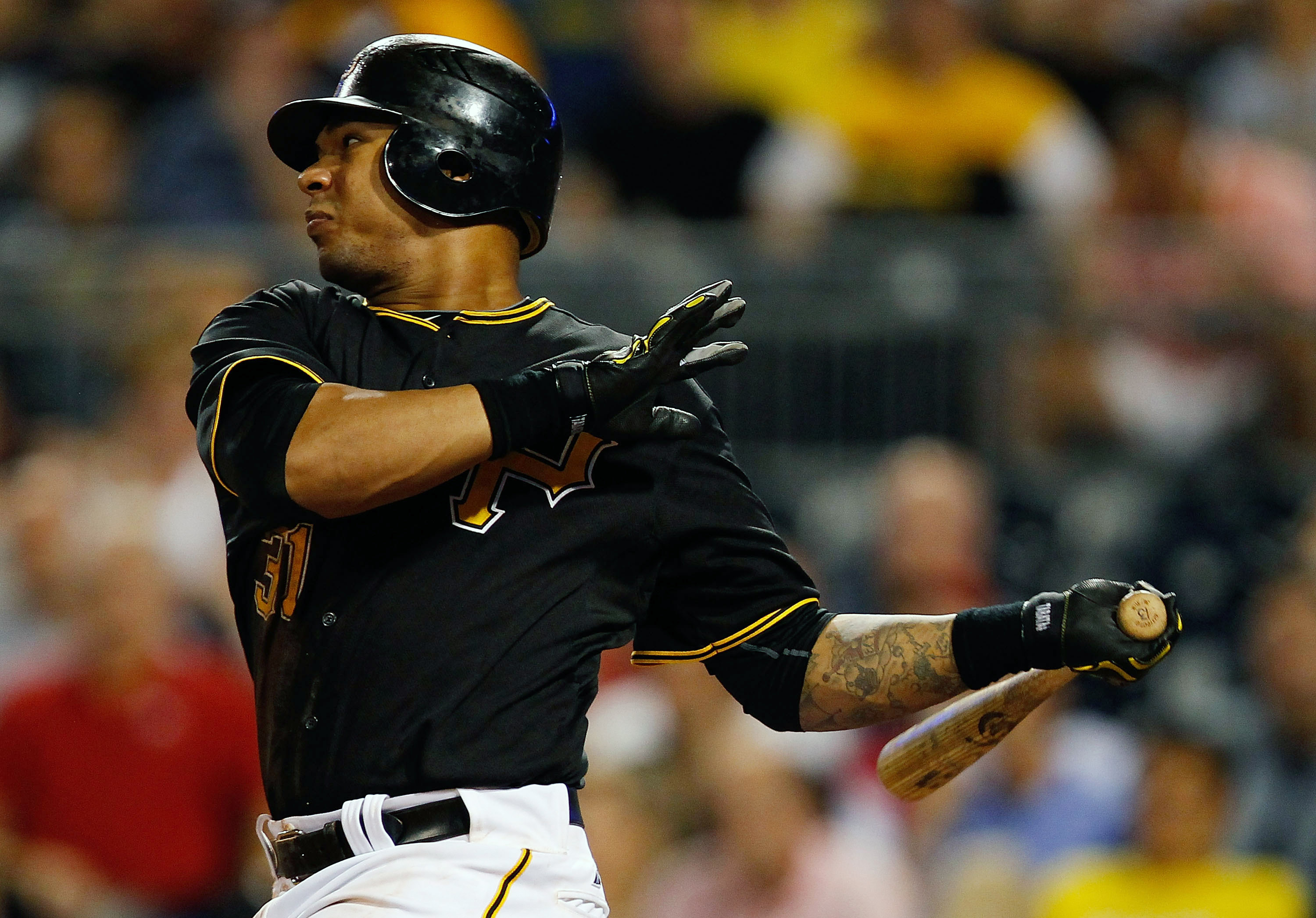 PITTSBURGH - SEPTEMBER 21:  Jose Tabata #31 of the Pittsburgh Pirates hits a two run triple against the St. Louis Cardinals during the game on September 21, 2010 at PNC Park in Pittsburgh, Pennsylvania.  (Photo by Jared Wickerham/Getty Images)