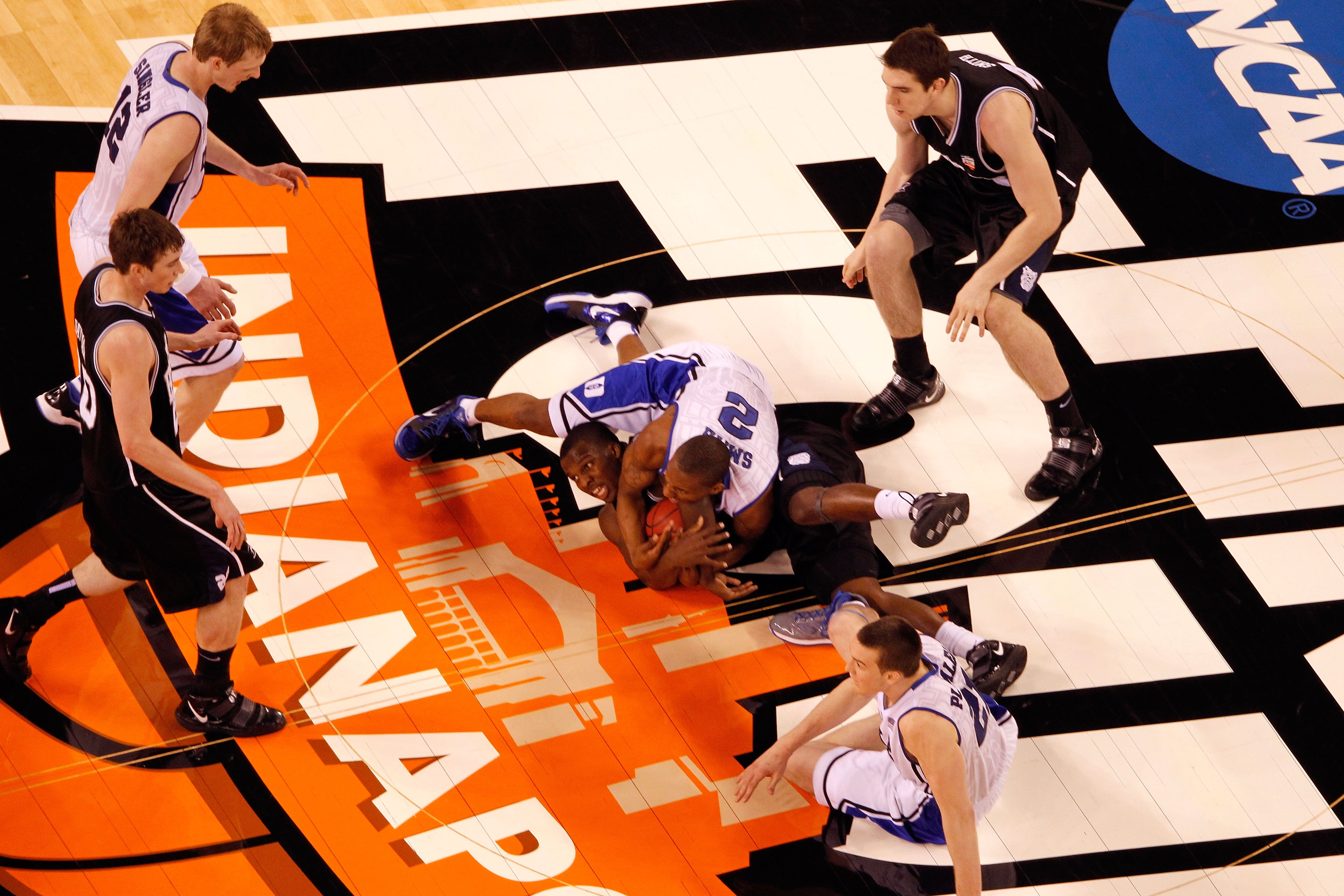 INDIANAPOLIS - APRIL 05:  Shelvin Mack #1 of the Butler Bulldogs attempts to control the ball against Nolan Smith #2 of the Duke Blue Devils during the 2010 NCAA Division I Men's Basketball National Championship game at Lucas Oil Stadium on April 5, 2010
