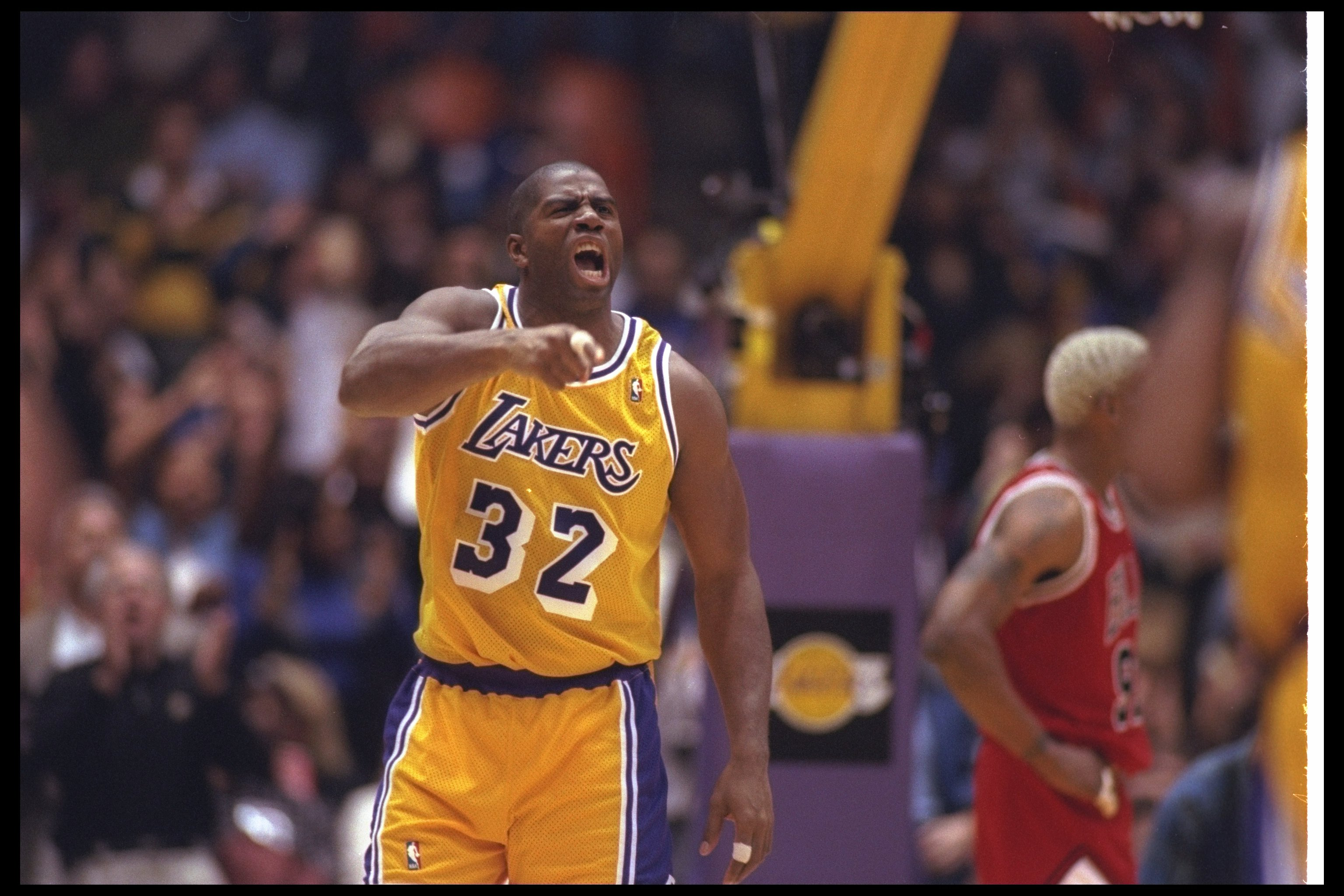 2 Feb 1996:  Guard Earvin (Magic) Johnson of the Los Angeles Lakers yells during a game against the Chicago Bulls at the Great Western Forum in Inglewood, California.  The Bulls won the game, 99-84. Mandatory Credit: ALLSPORT USA  /Allsport Mandatory Cred
