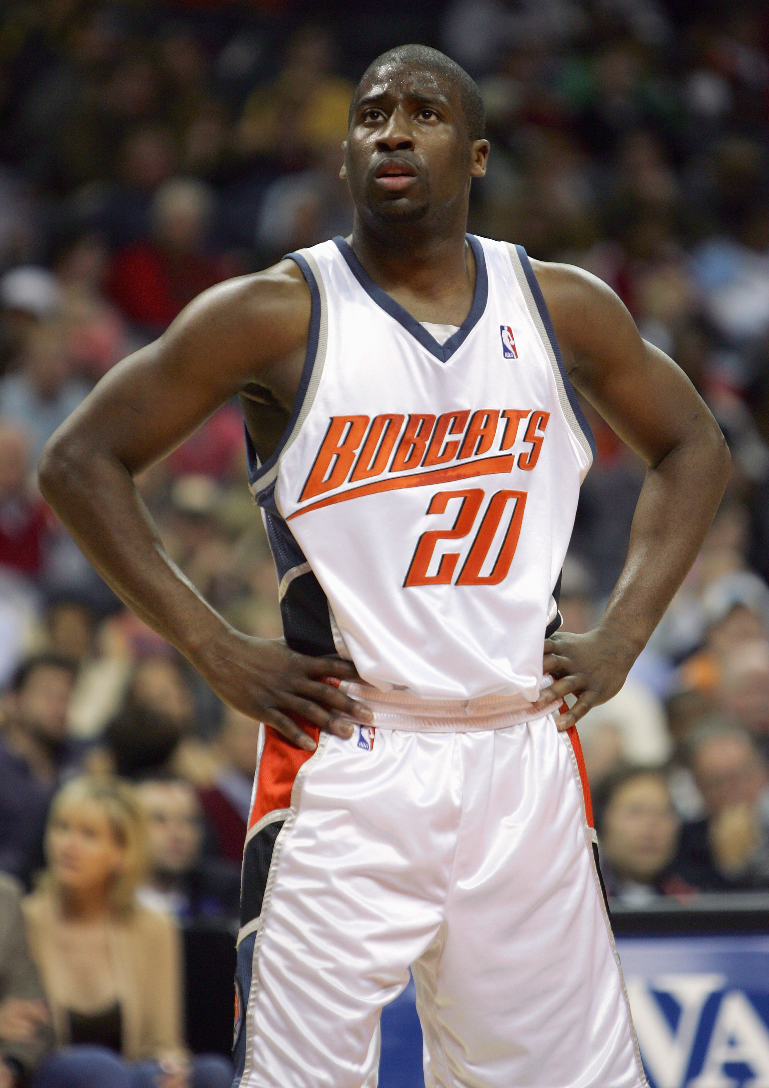 CHARLOTTE, NC - DECEMBER 23:  Raymond Felton #20 of the Charlotte Bobcats stands on the court during the game with the Los Angeles Clippers on December 23, 2005 at the Charlotte Bobcats Arena in Charlotte, North Carolina.  NOTE TO USER: User expressly ack