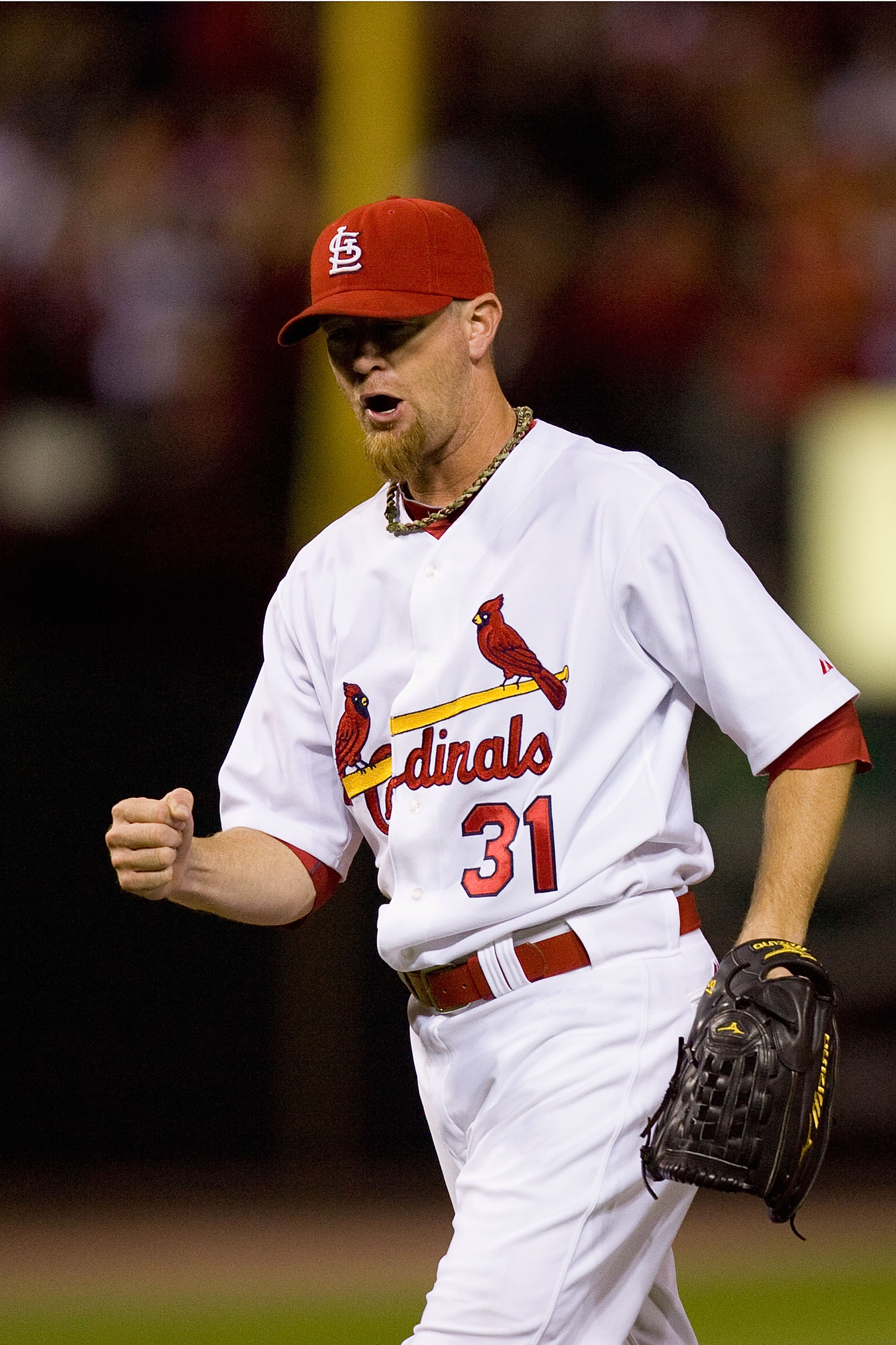 ST. LOUIS - SEPTEMBER 3: Reliever Ryan Franklin #31 of the St. Louis Cardinals celebrates beating the Cincinnati Reds at Busch Stadium on September 3, 2010 in St. Louis, Missouri.  The Cardinals beat the Reds 3-2.  (Photo by Dilip Vishwanat/Getty Images)