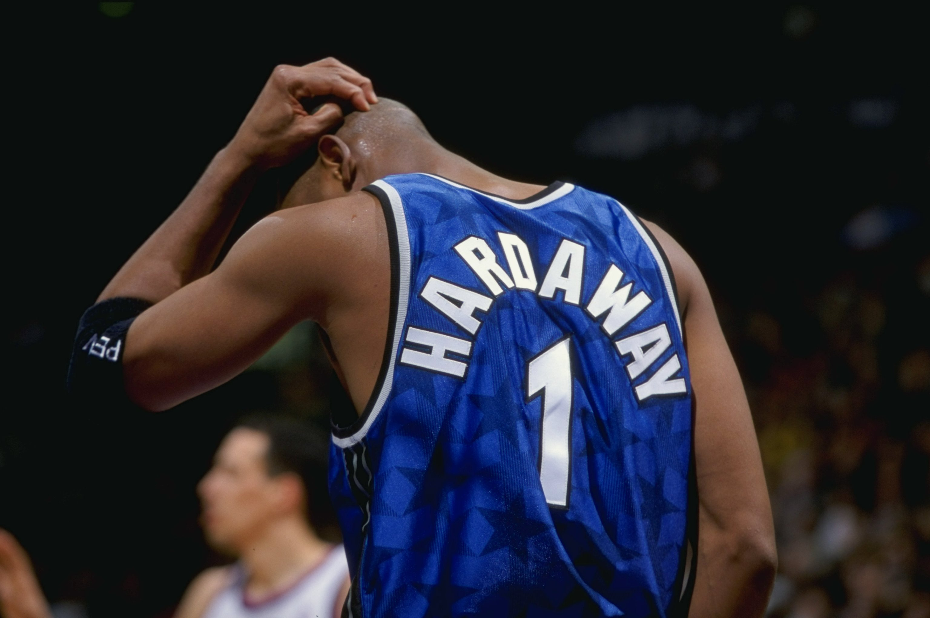 5 Mar 1999: Anfernee Hardaway #1 of the Orlando Magic looks down during the game against the Toronto Raptors at the Air Canada Centre in Toronto, Canada. The Magic defeated the Raptors 89-84.    Mandatory Credit: Robert Laberge  /Allsport