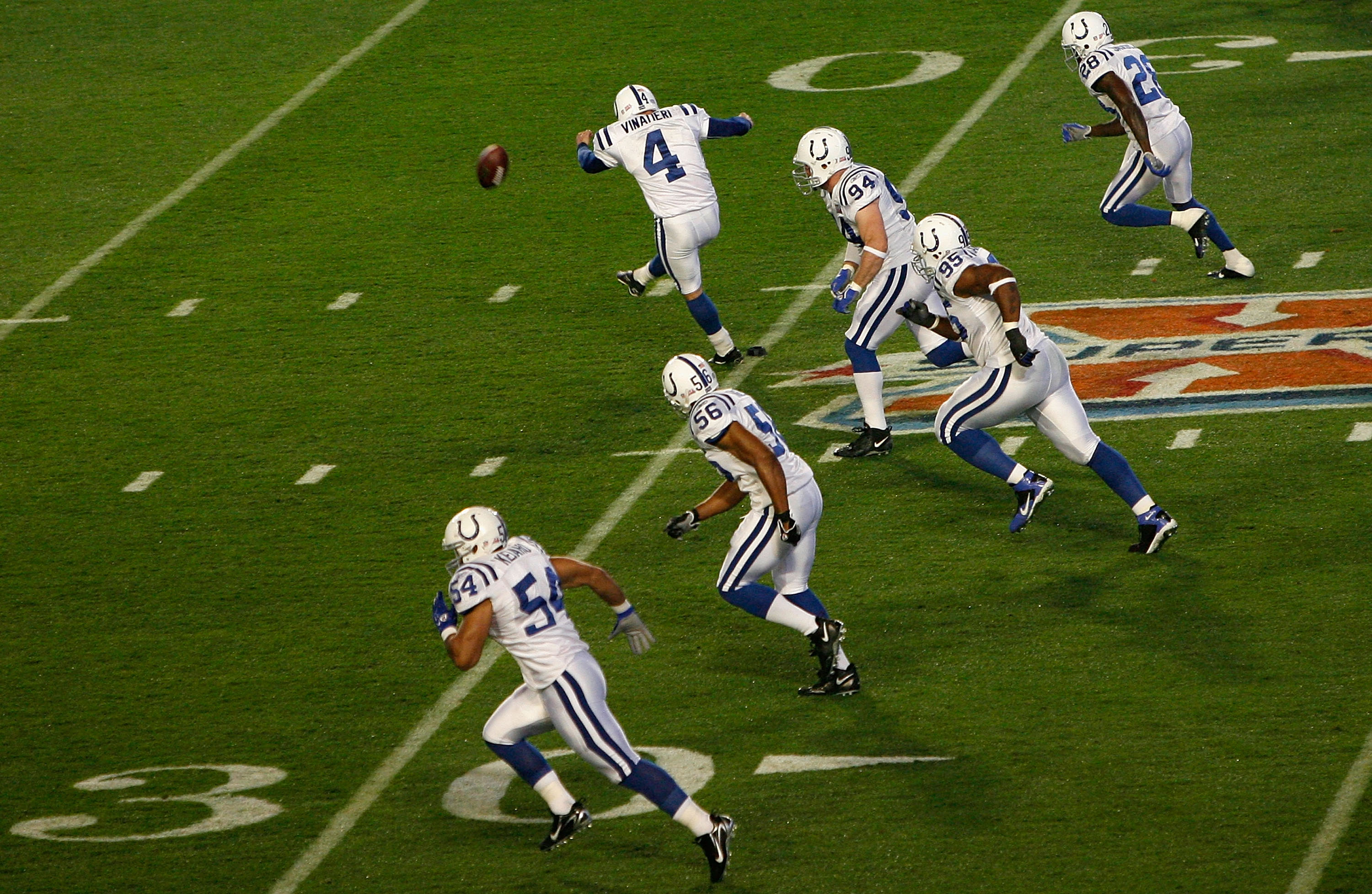 MIAMI GARDENS, FL - FEBRUARY 04:  Adam Vinatieri #4 of the Indianapolis Colts kicks the opening kickoff against the Chicago Bears during Super Bowl XLI on February 4, 2007 at Dolphin Stadium in Miami Gardens, Florida. The Colts won 29-17.  (Photo by Eliot