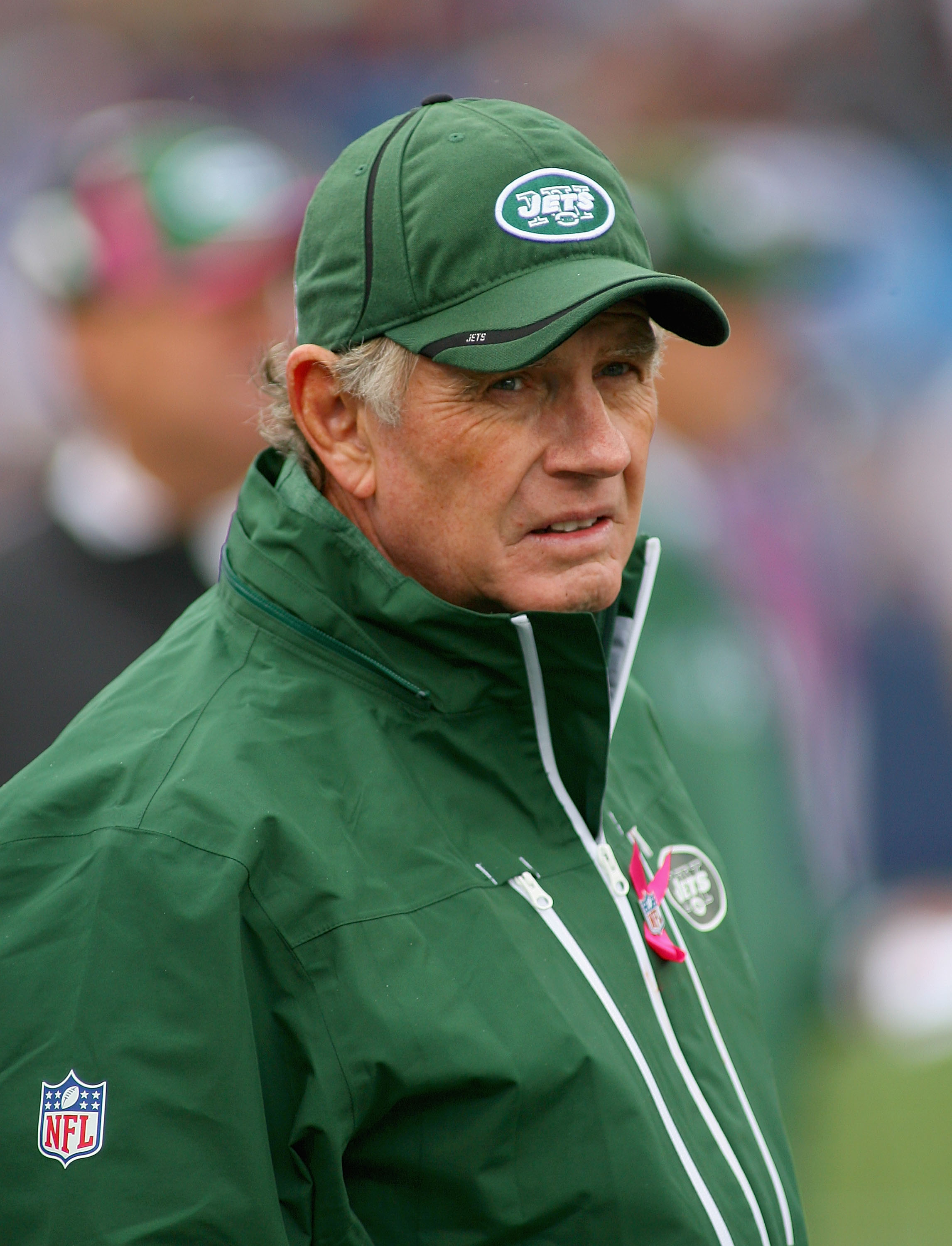 ORCHARD PARK, NY - OCTOBER 03:  Mike Westhoff, Special Teams Coordinator of the New York Jets stands on the sidelines against  the Buffalo Bills at Ralph Wilson Stadium on October 3, 2010 in Orchard Park, New York. The Jets won 38-14.  (Photo by Rick Stew