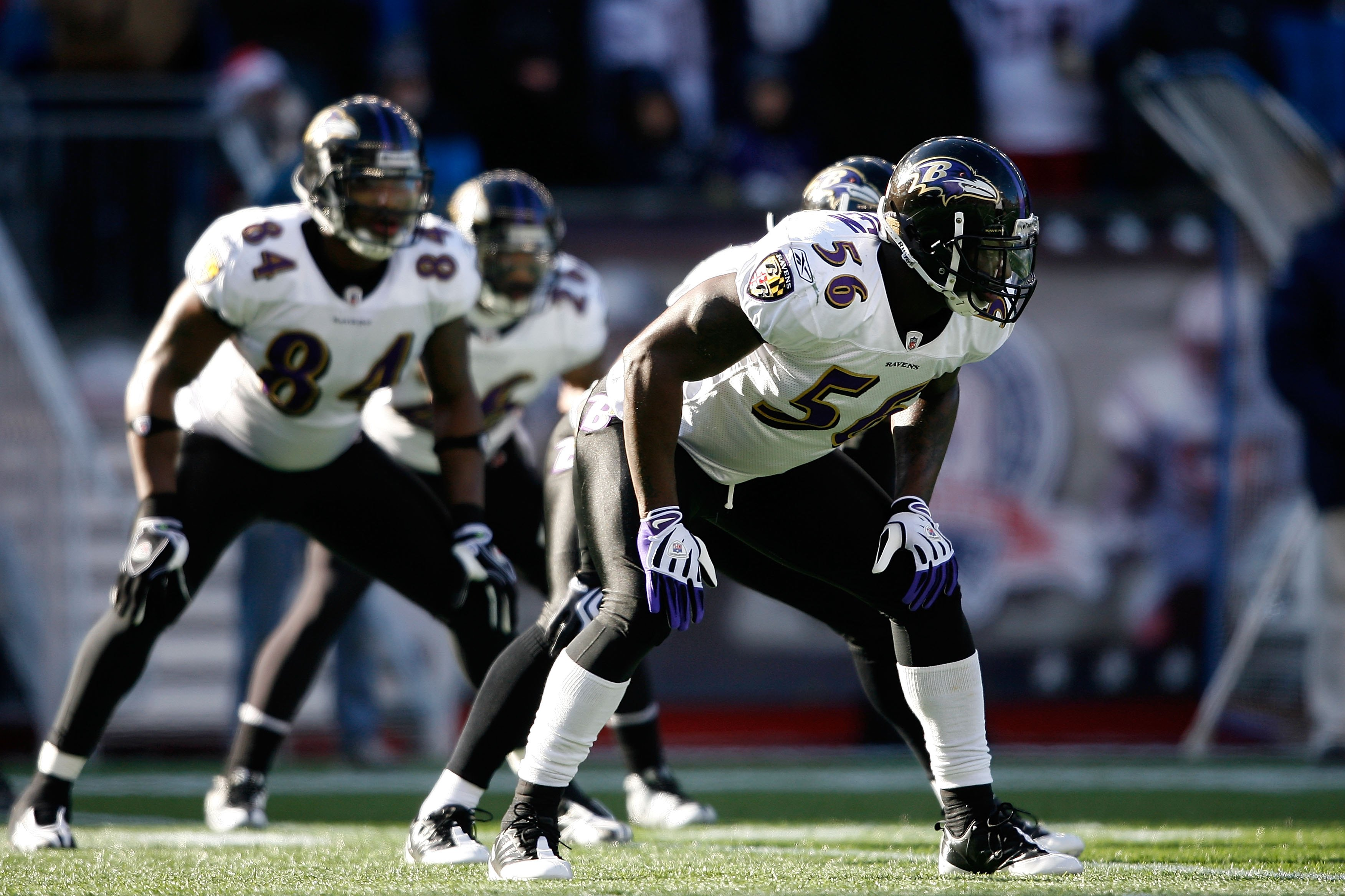 FOXBORO, MA - JANUARY 10:  Tavares Gooden #56 of the Baltimore Ravens lines up on special teams against the New England Patriots during the 2010 AFC wild-card playoff game at Gillette Stadium on January 10, 2010 in Foxboro, Massachusetts. The Ravens won 3