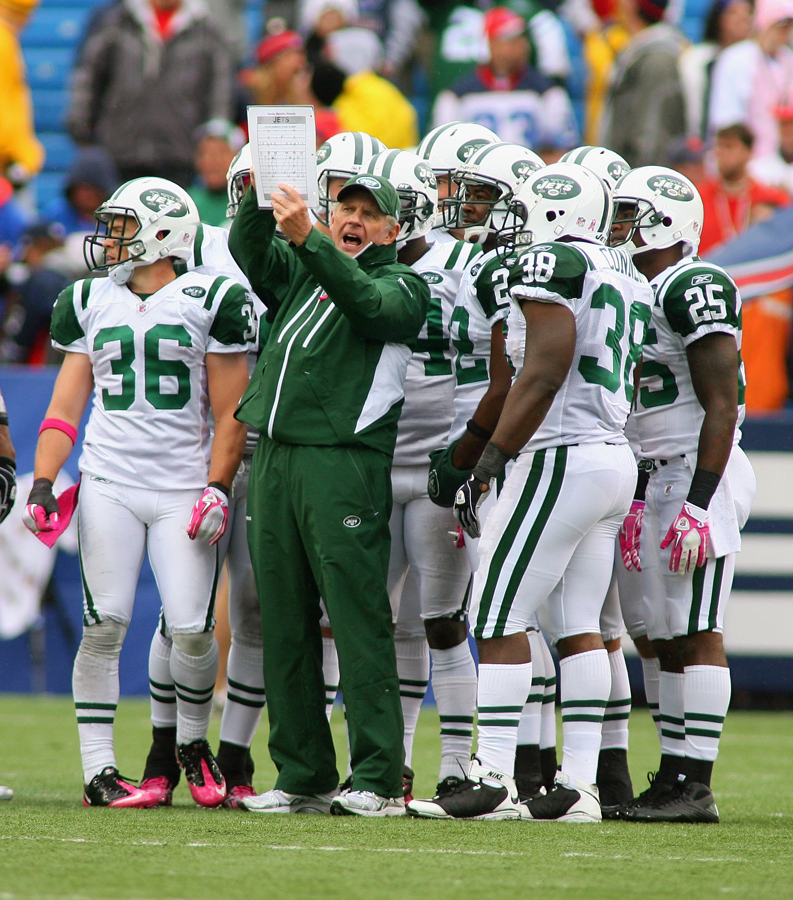 ORCHARD PARK, NY - OCTOBER 03: Mike Westhoff, Special Teams Coordinator of the New York Jets talks to his players during a time out against  the Buffalo Bills at Ralph Wilson Stadium on October 3, 2010 in Orchard Park, New York. The Jets won 38-14. (Photo