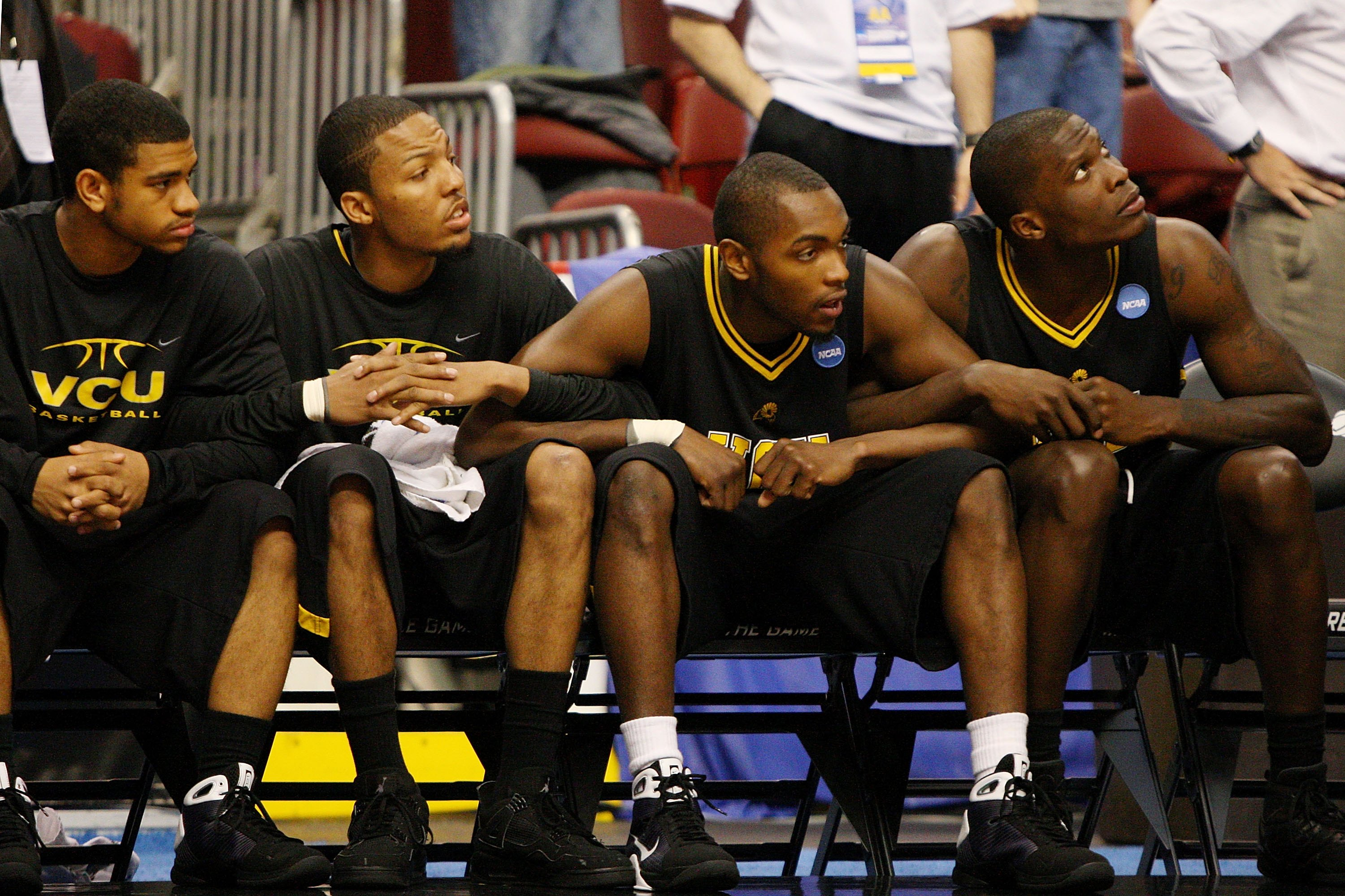 PHILADELPHIA - MARCH 19:  Members of the VCU Rams watch from the bench at the end of the game against the UCLA Bruins during the first round of the NCAA Division I Men's Basketball Tournament at the Wachovia Center on March 19, 2009 in Philadelphia, Penns