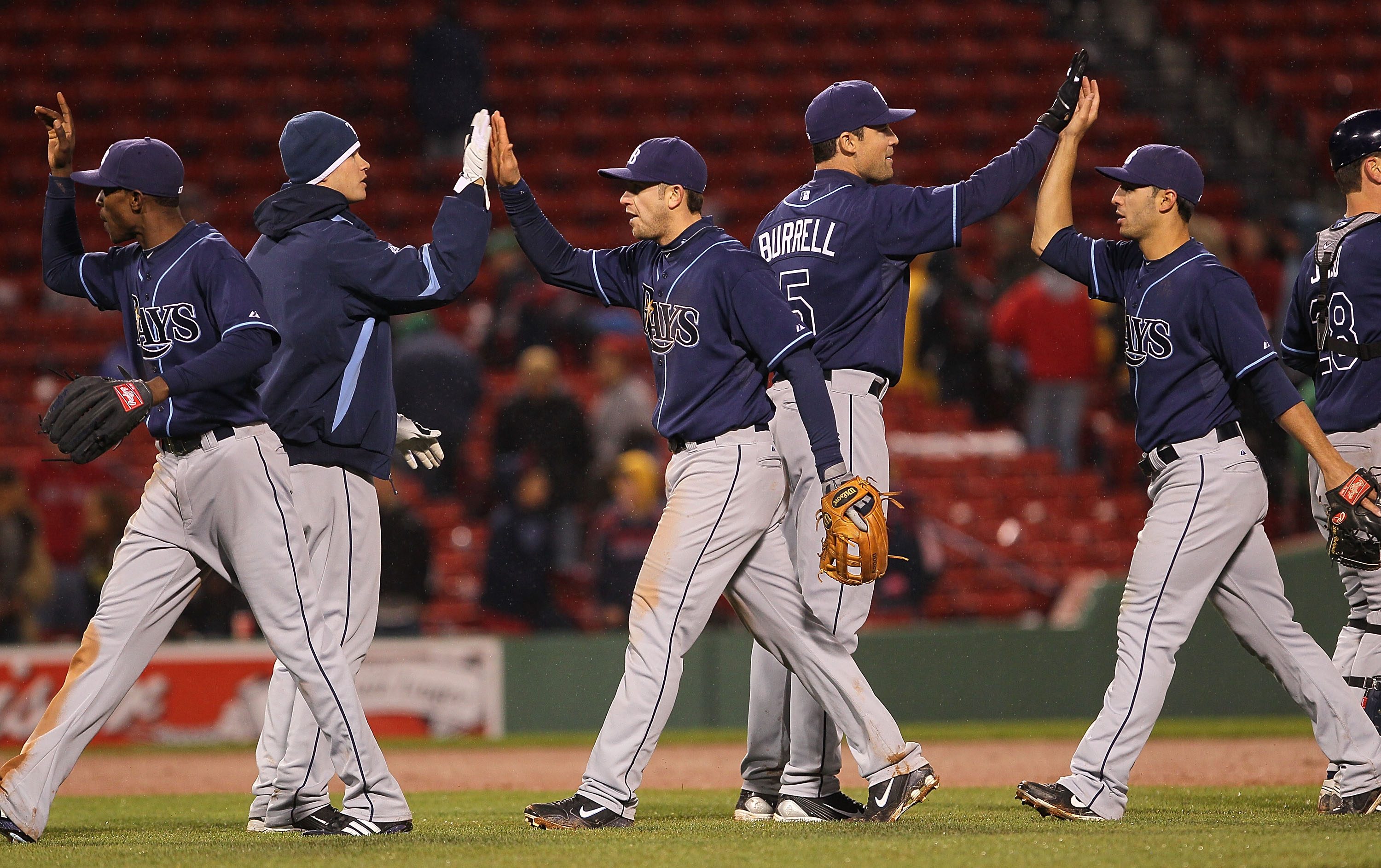 c20d436e7ab Rays players going through the line after a win at Fenway last April.