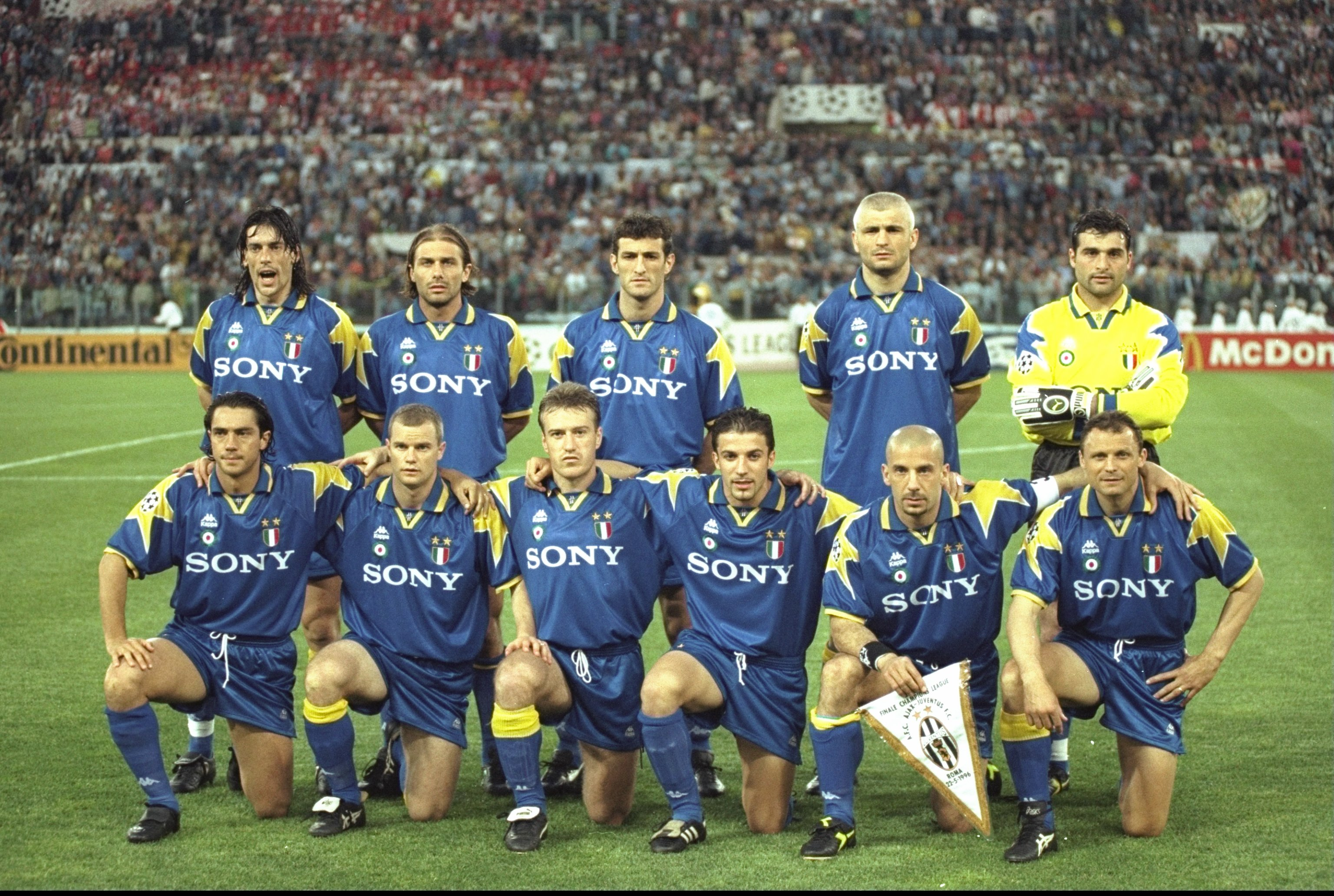 23 May 1996:  The Juventus team before the European Cup Final  against Ajax Amsterdam in Rome, Italy. Juventus won the match 4-2 on penalties. \ Mandatory Credit: Shaun  Botterill/Allsport