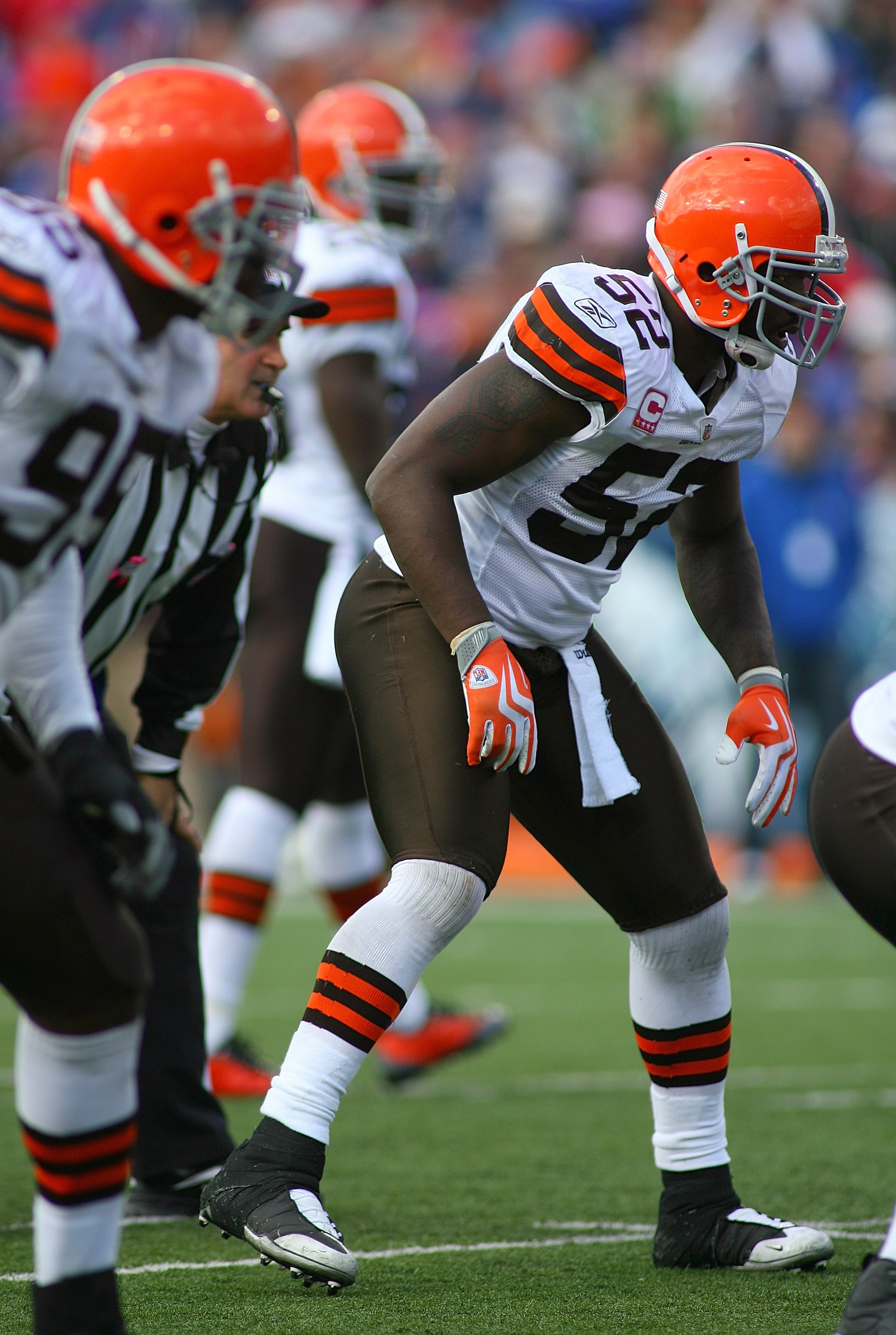 ORCHARD PARK, NY - OCTOBER 11:  D'Qwell Jackson #52 of the Cleveland Browns lines up in his defensive position during their NFL game against the Buffalo Bills at Ralph Wilson Stadium on October 11, 2009 in Orchard Park, New York. The Browns defeated the B