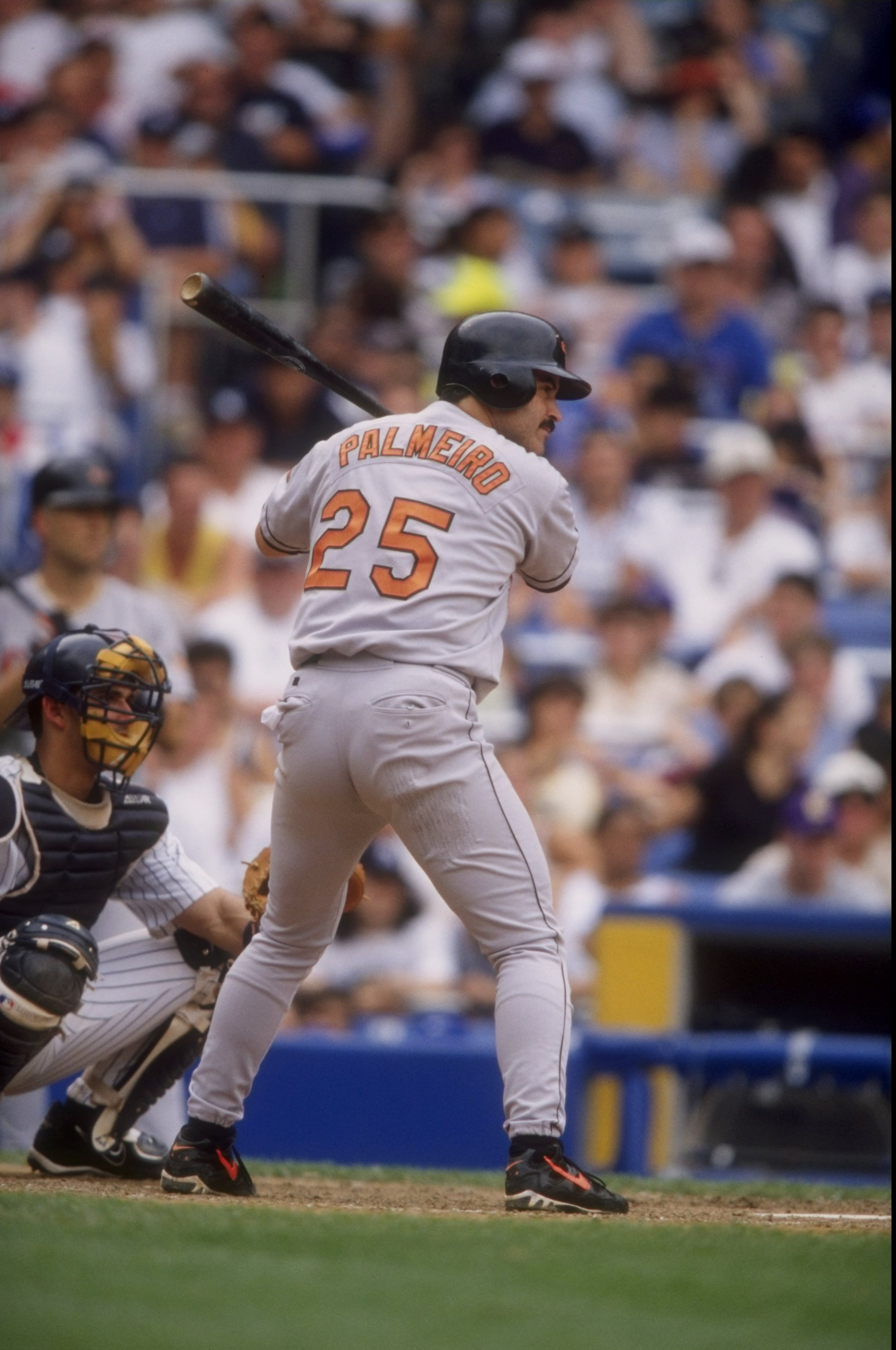 4 Jul 1998:  Infielder Raphael Palmeiro #25 of the Baltimore Orioles in action during a game against the New York Yankees at Yankee Stadium in the Bronx, New York.  The Yankees defeated the Orioles 4-3. Mandatory Credit: David Seelig  /Allsport