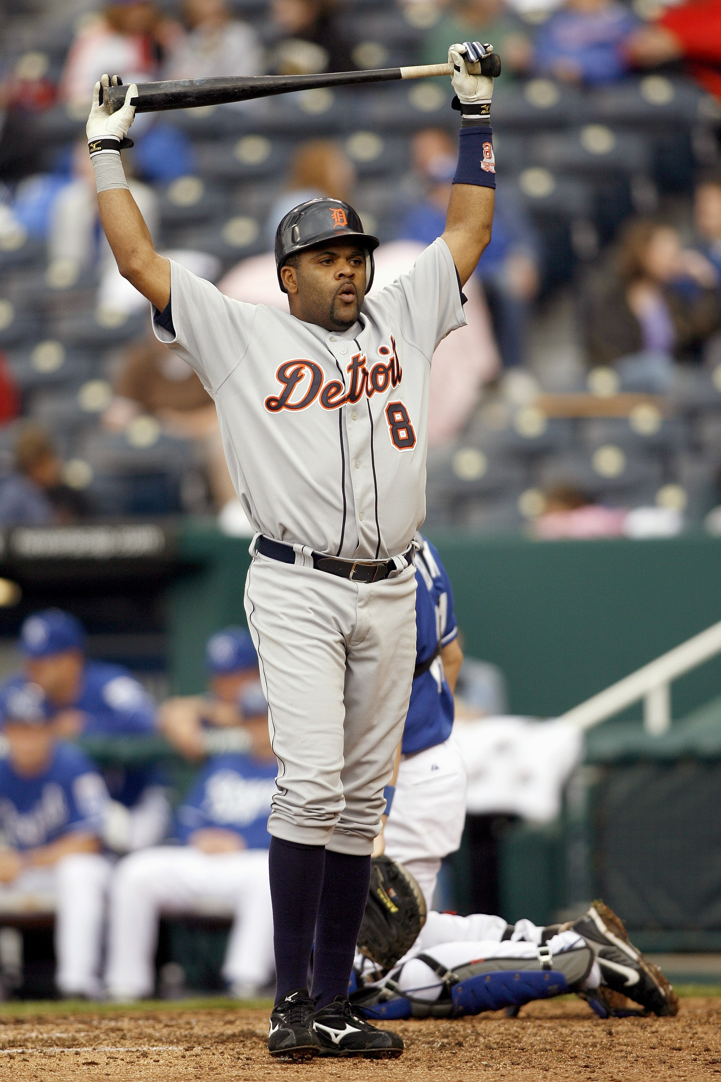 KANSAS CITY, MO - MAY 6: Neifi Perez #8 of the Detroit Tigers reacts to the pitch against the Kansas City Royals on May 6, 2007 at Kauffman Stadium in Kansas City, Missouri.  (Photo by G. Newman Lowrance/Getty Images)
