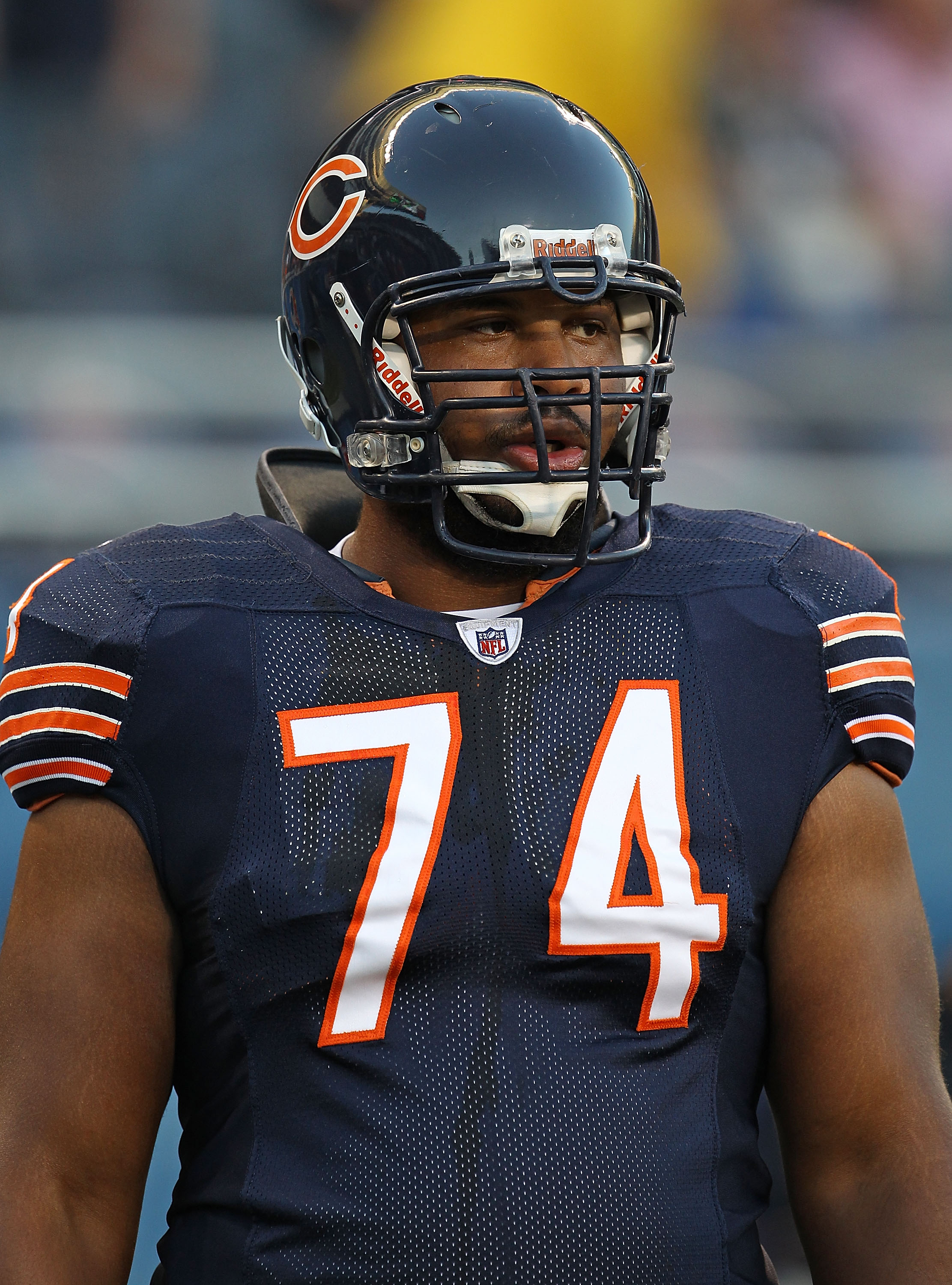 CHICAGO - AUGUST 28: Chris Williams #74 of the Chicago Bears participates in warm-ups before a preseason game against the Arizona Cardinals at Soldier Field on August 28, 2010 in Chicago, Illinois. The Cardinals defeated the Bears 14-9. (Photo by Jonathan