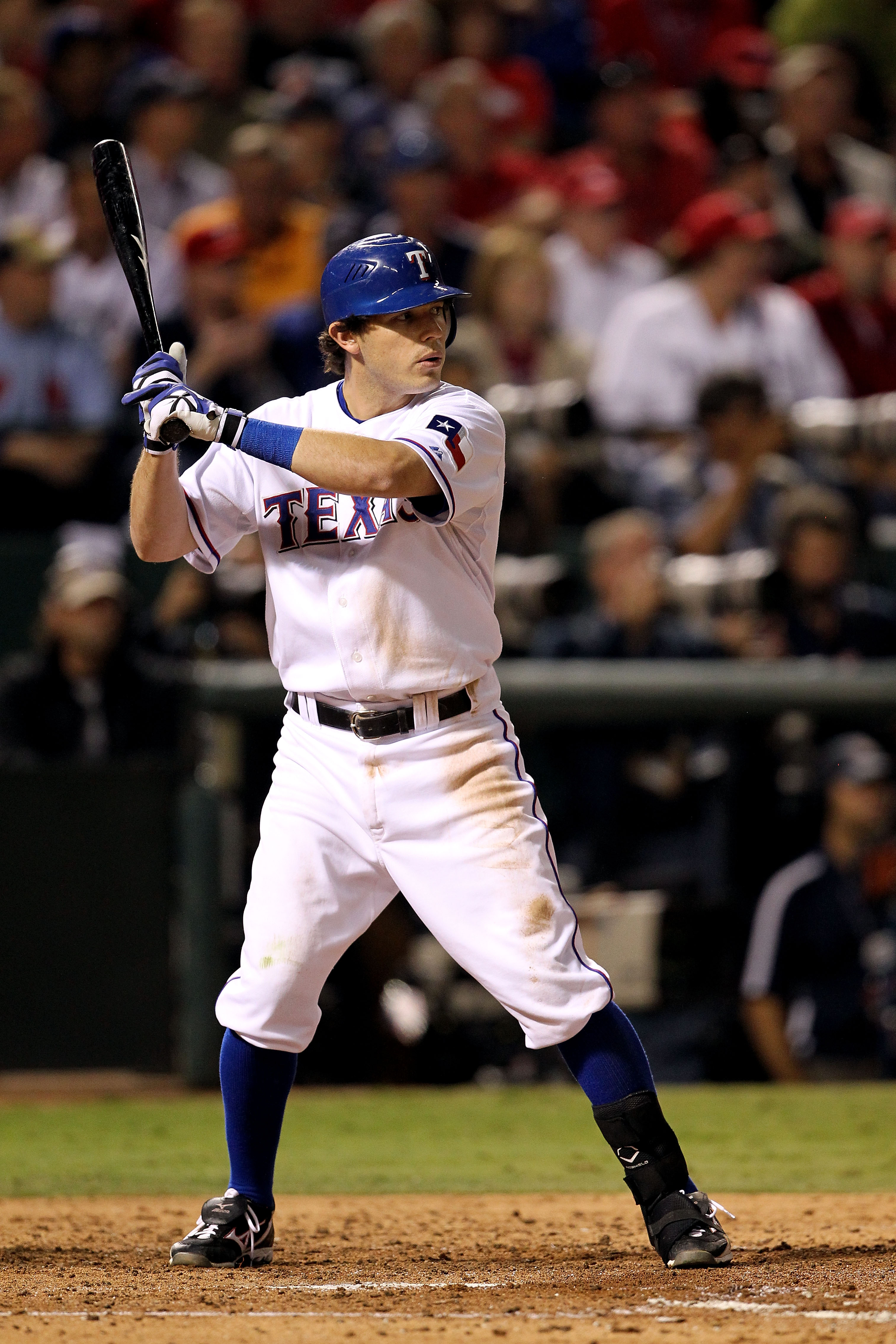 ARLINGTON, TX - NOVEMBER 01:  Ian Kinsler #5 of the Texas Rangers bats against the San Francisco Giants in Game Five of the 2010 MLB World Series at Rangers Ballpark in Arlington on November 1, 2010 in Arlington, Texas.  (Photo by Ronald Martinez/Getty Im