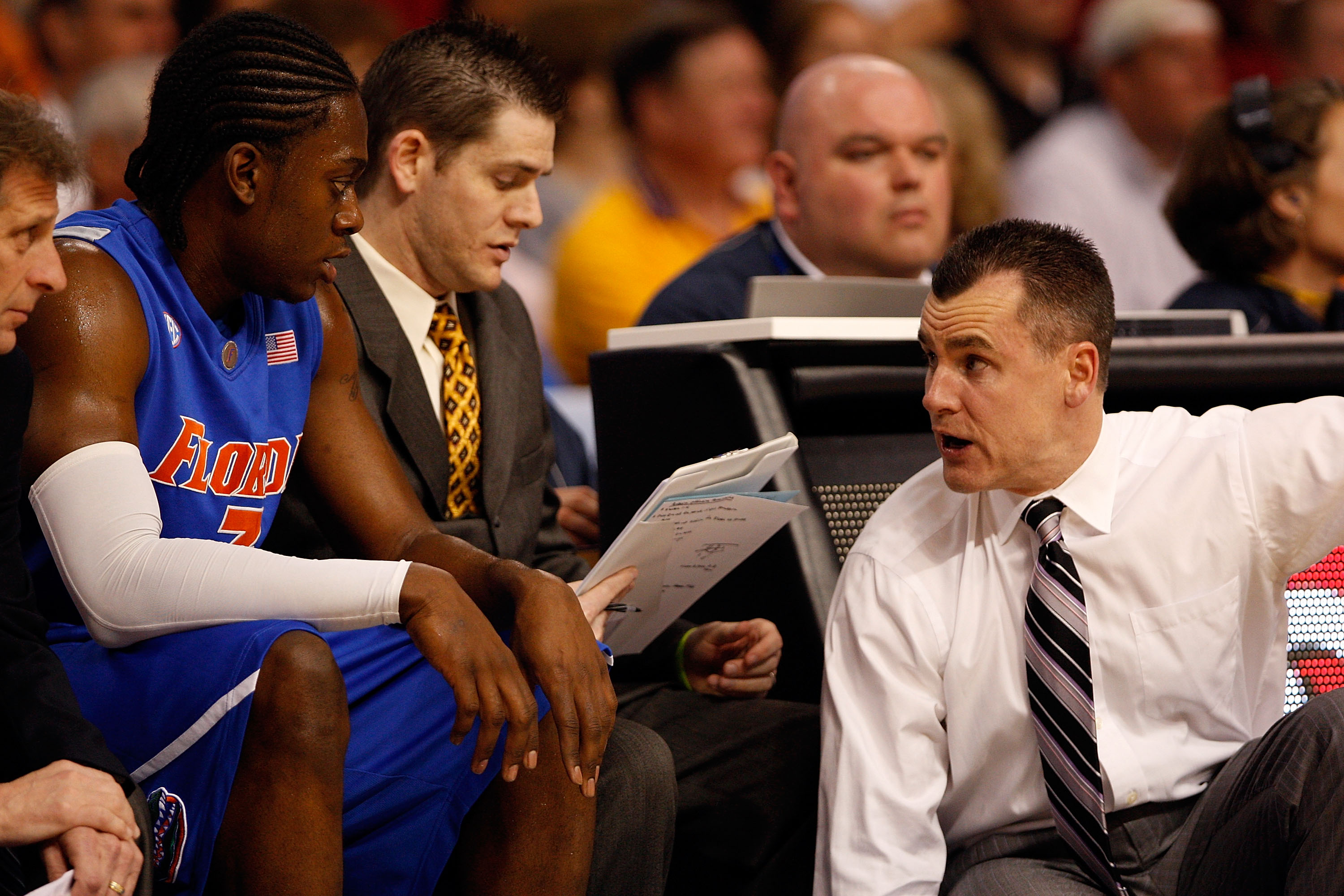TAMPA, FL - MARCH 13:  Ray Shipman #3 talks with head coach Billy Donovan of the Florida Gators during the game against the Auburn Tigers during the quaterfinal round of the SEC Men's Basketball Tournament on March 13, 2009 at The St. Pete Times Forum in