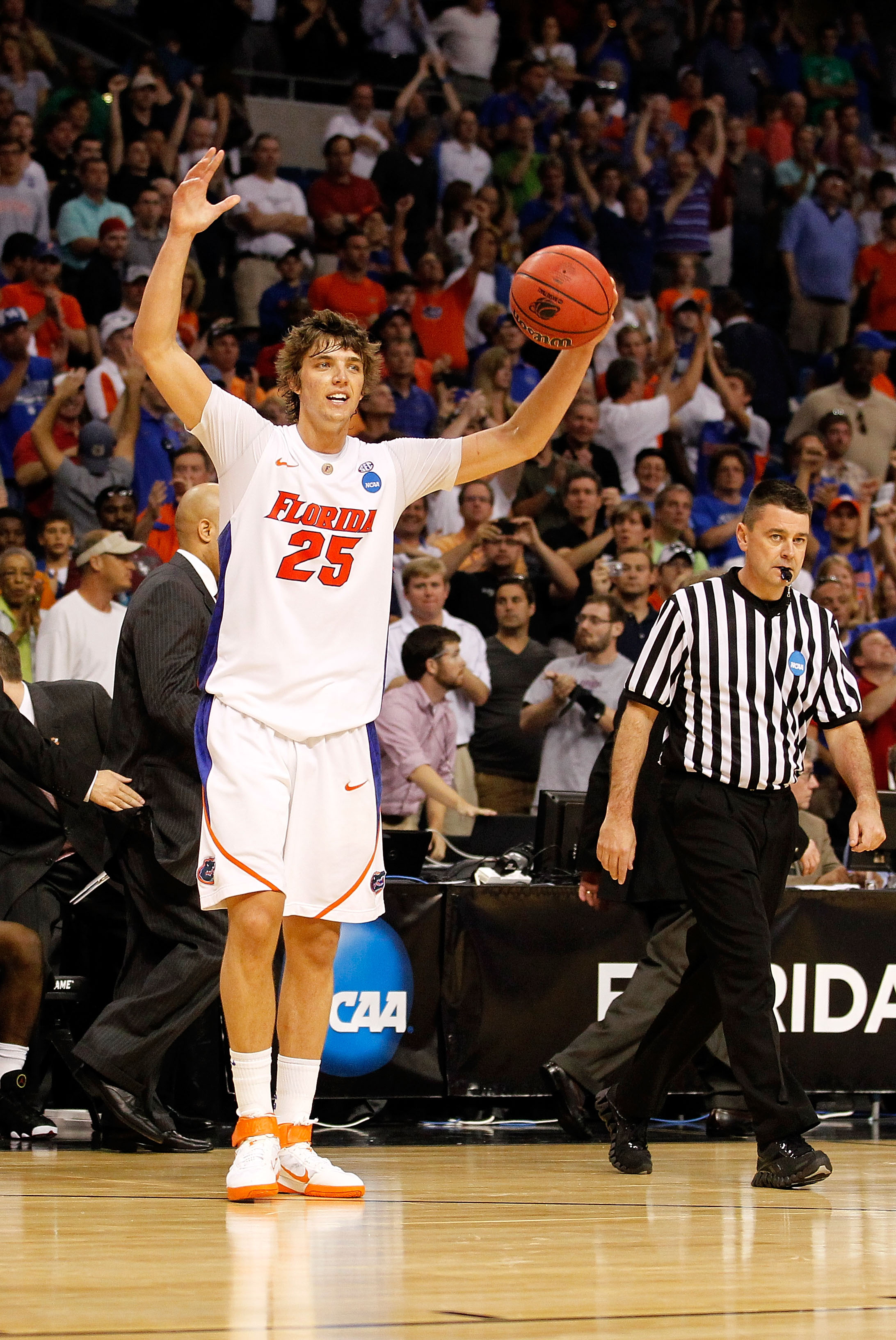 TAMPA, FL - MARCH 19:  Chandler Parsons #25 of the Florida Gators celebrates after Flordia won 73-65 against the UCLA Bruins during the third round of the 2011 NCAA men's basketball tournament at St. Pete Times Forum on March 19, 2011 in Tampa, Florida.
