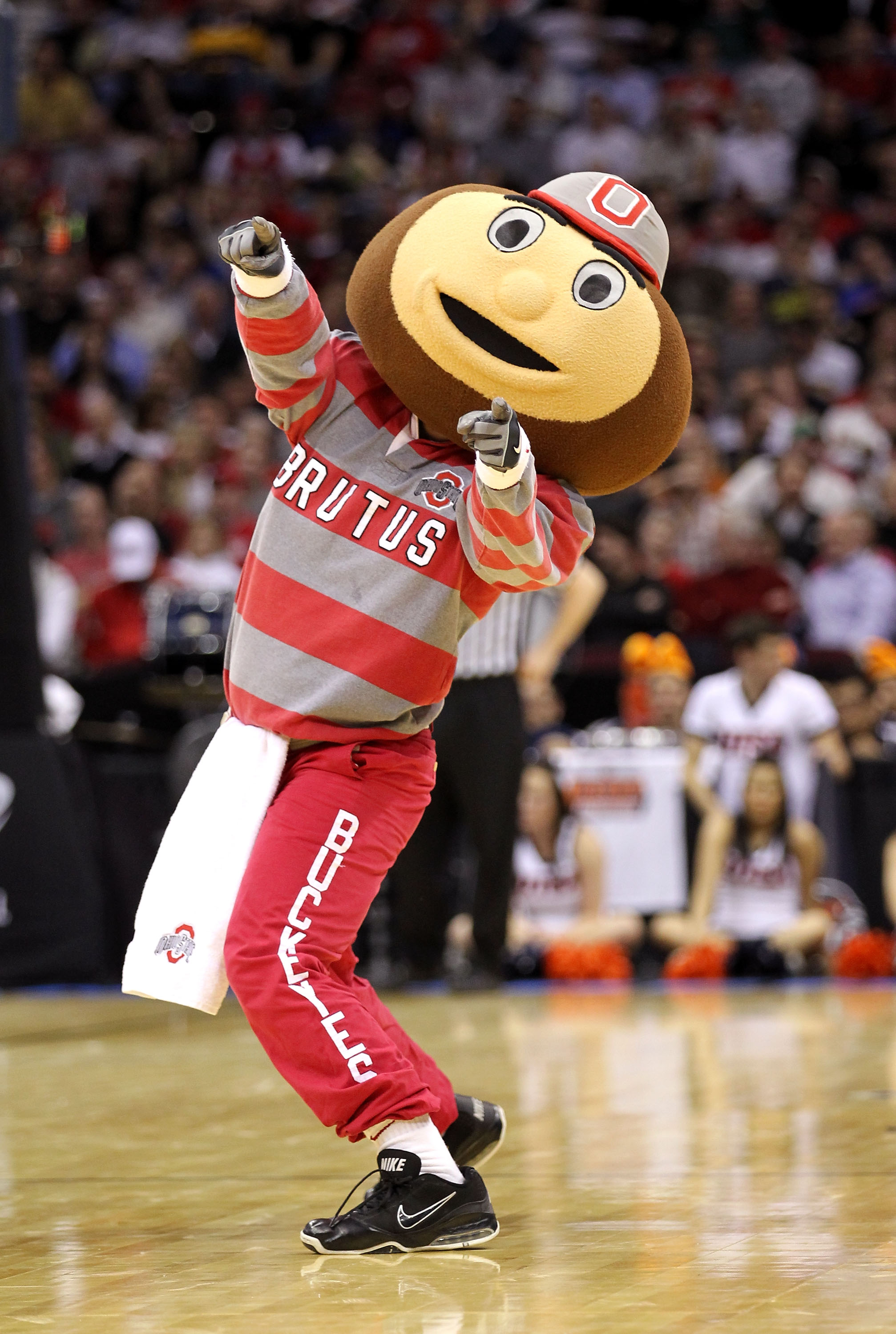 CLEVELAND, OH - MARCH 18: Brutus the Ohio State Buckeyes mascot performs on the court during the game against the Texas-San Antonio Roadrunners during the second round of the 2011 NCAA men's basketball tournament at Quicken Loans Arena on March 18, 2011 i
